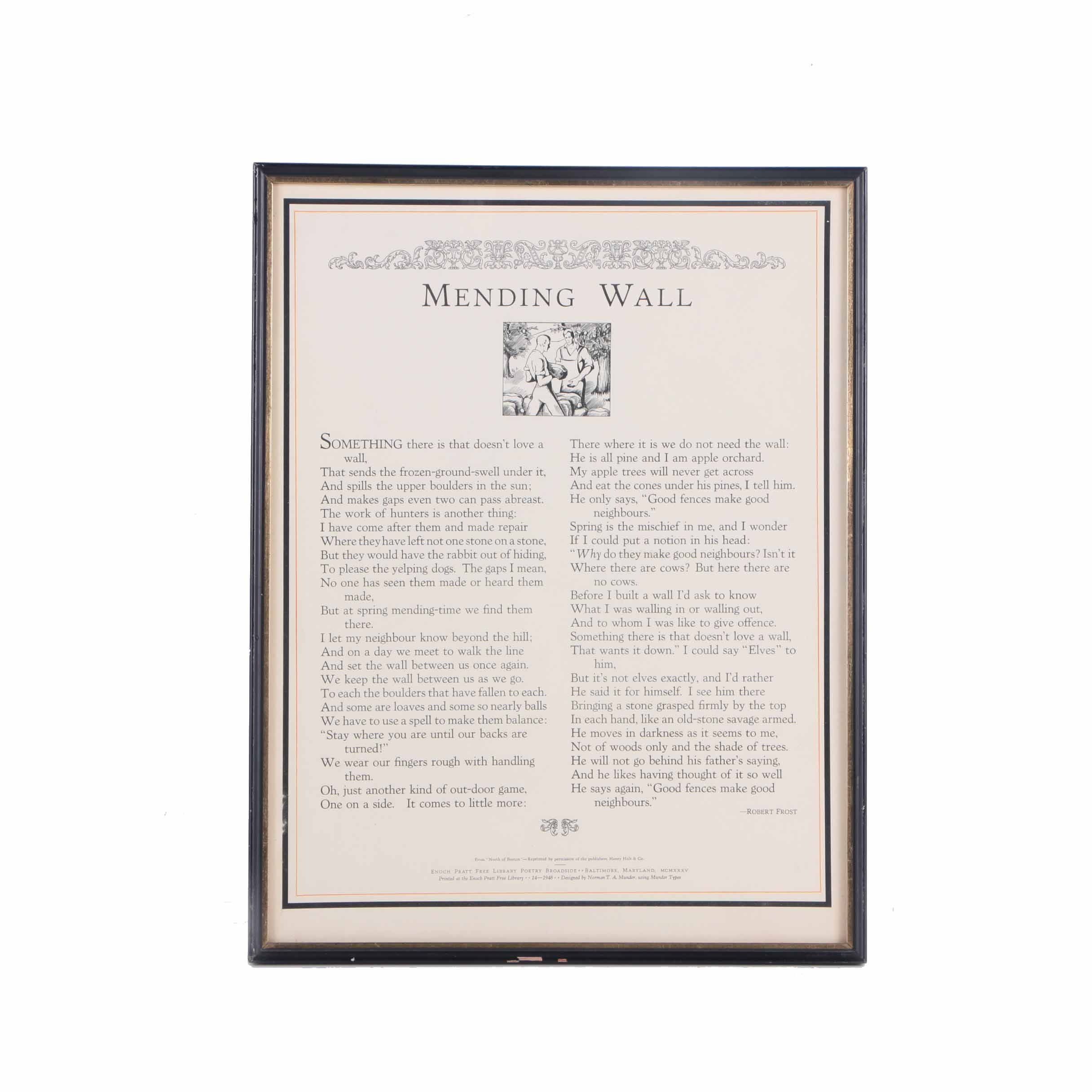 "Enoch Pratt Free Library Planographic Print ""Mending Wall"" By Robert Frost"