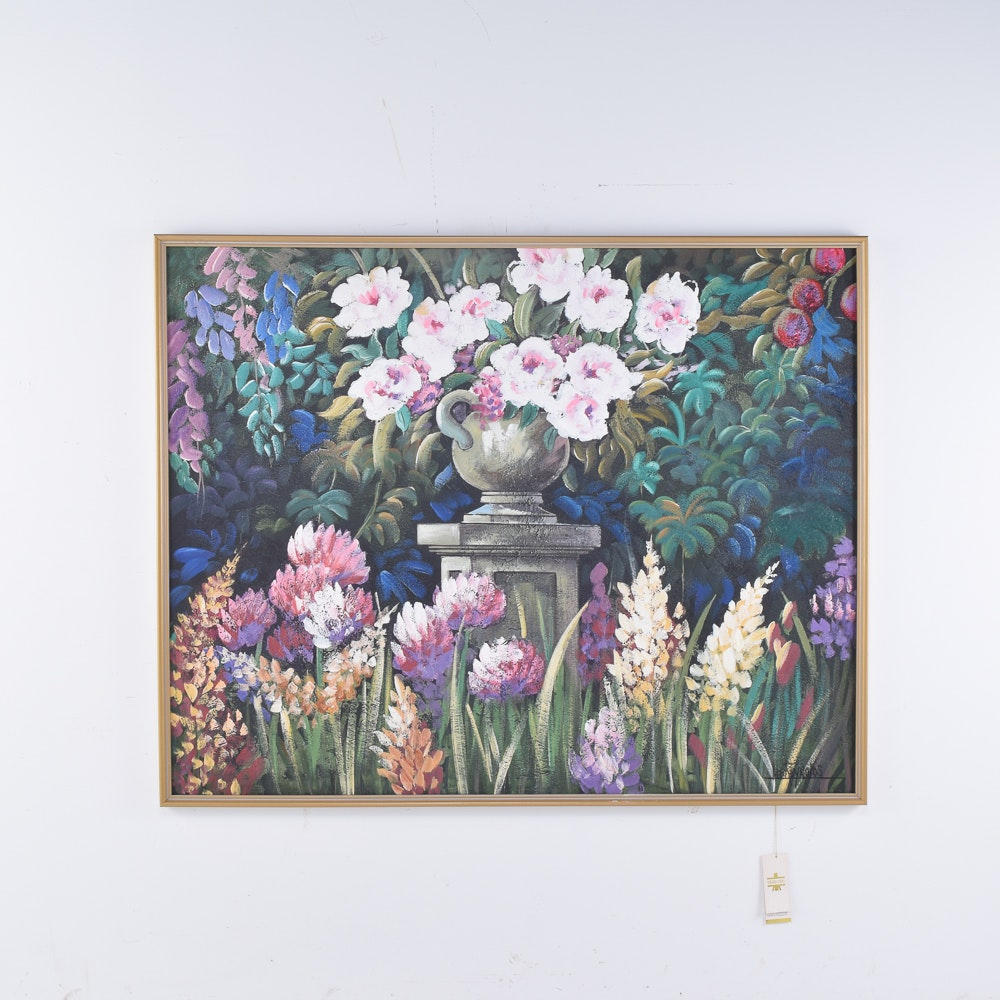Lee Reynolds Acrylic Painting of a Flower Garden
