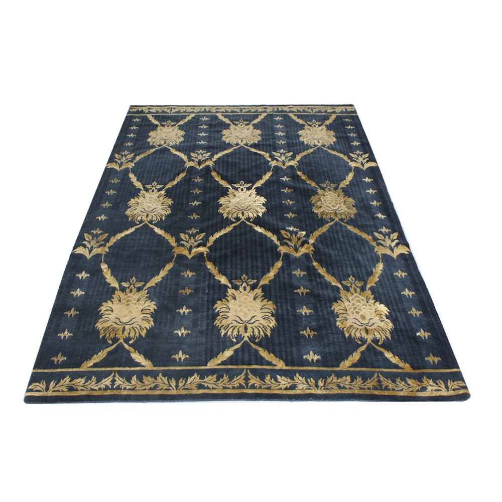 """Hand-Knotted Nepalese """"Regal"""" Silk and Wool Area Rug"""