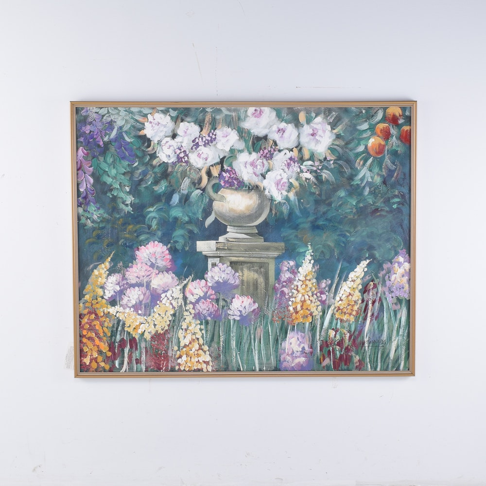 Lee Reynolds Acrylic Painting of a Garden