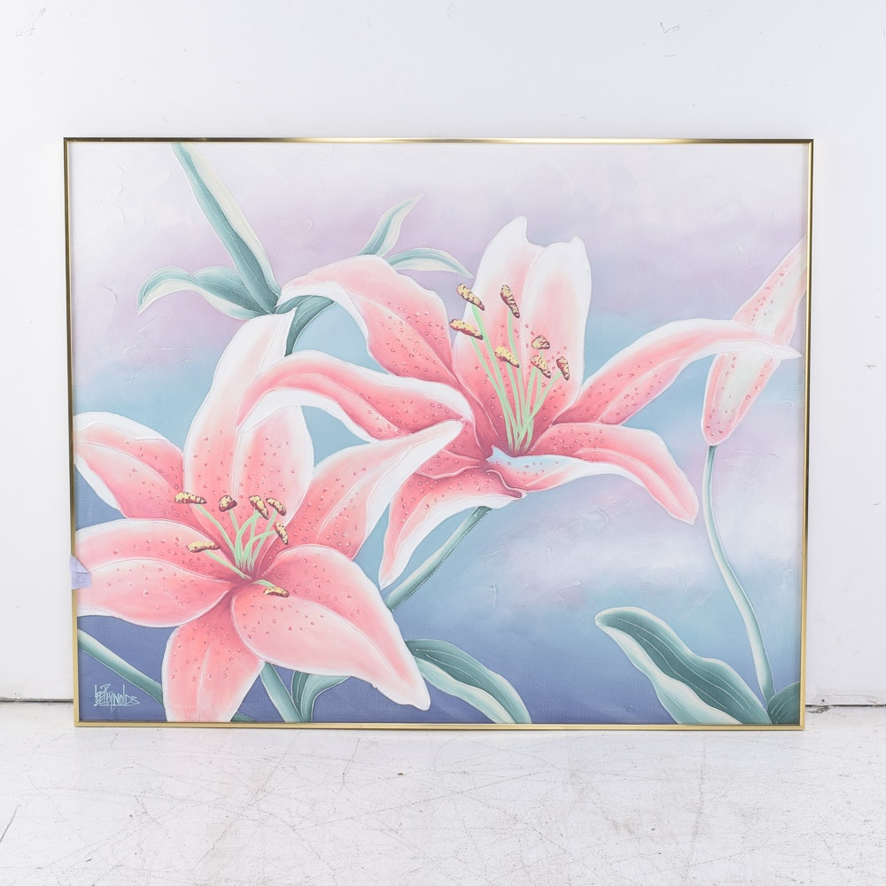 Lee Reynolds Acrylic Painting on Canvas of Flowers