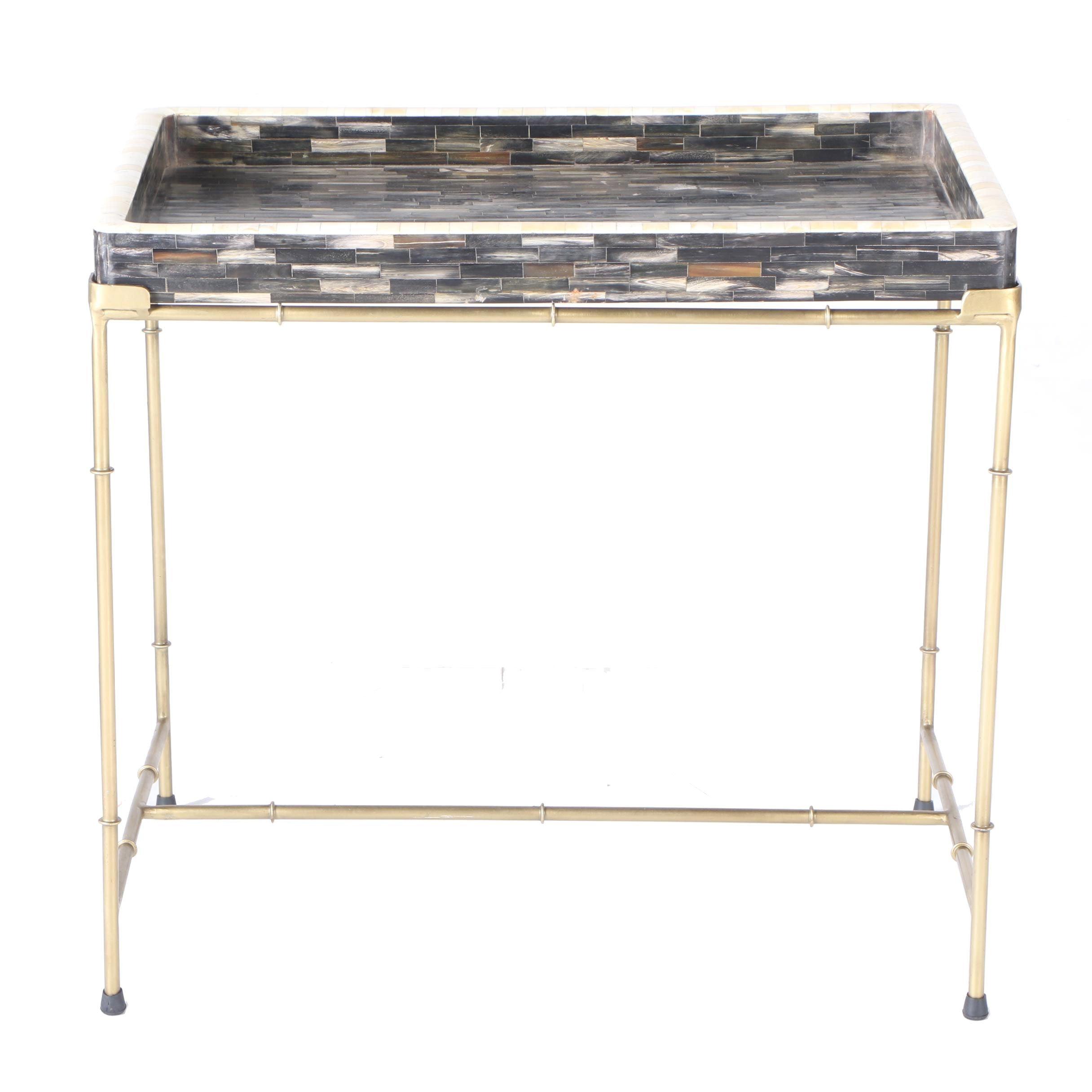Regency Style Bone Inlay Tray Table