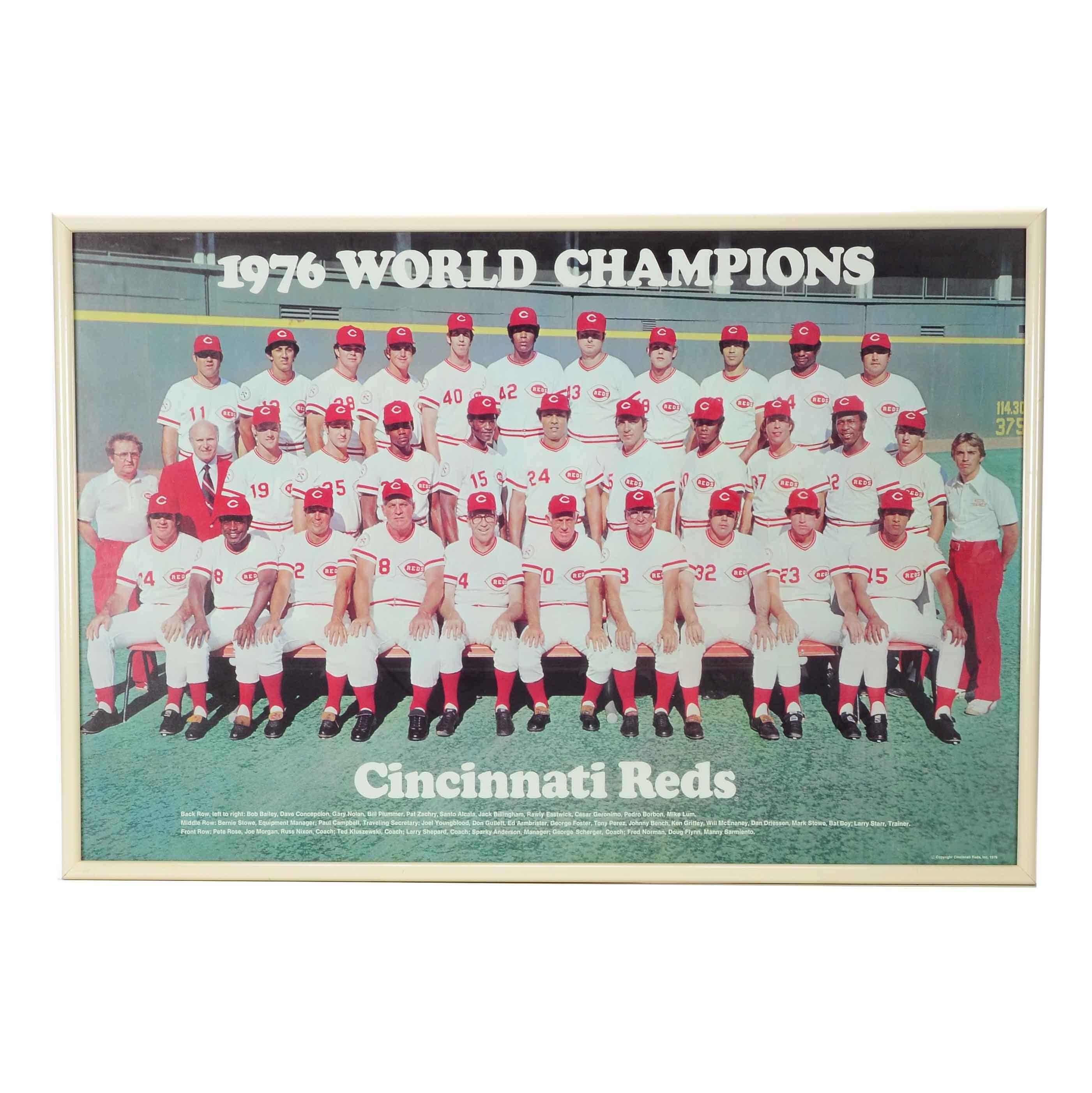 "1976 Cincinnati Reds ""World Champions"" Team Framed Poster"