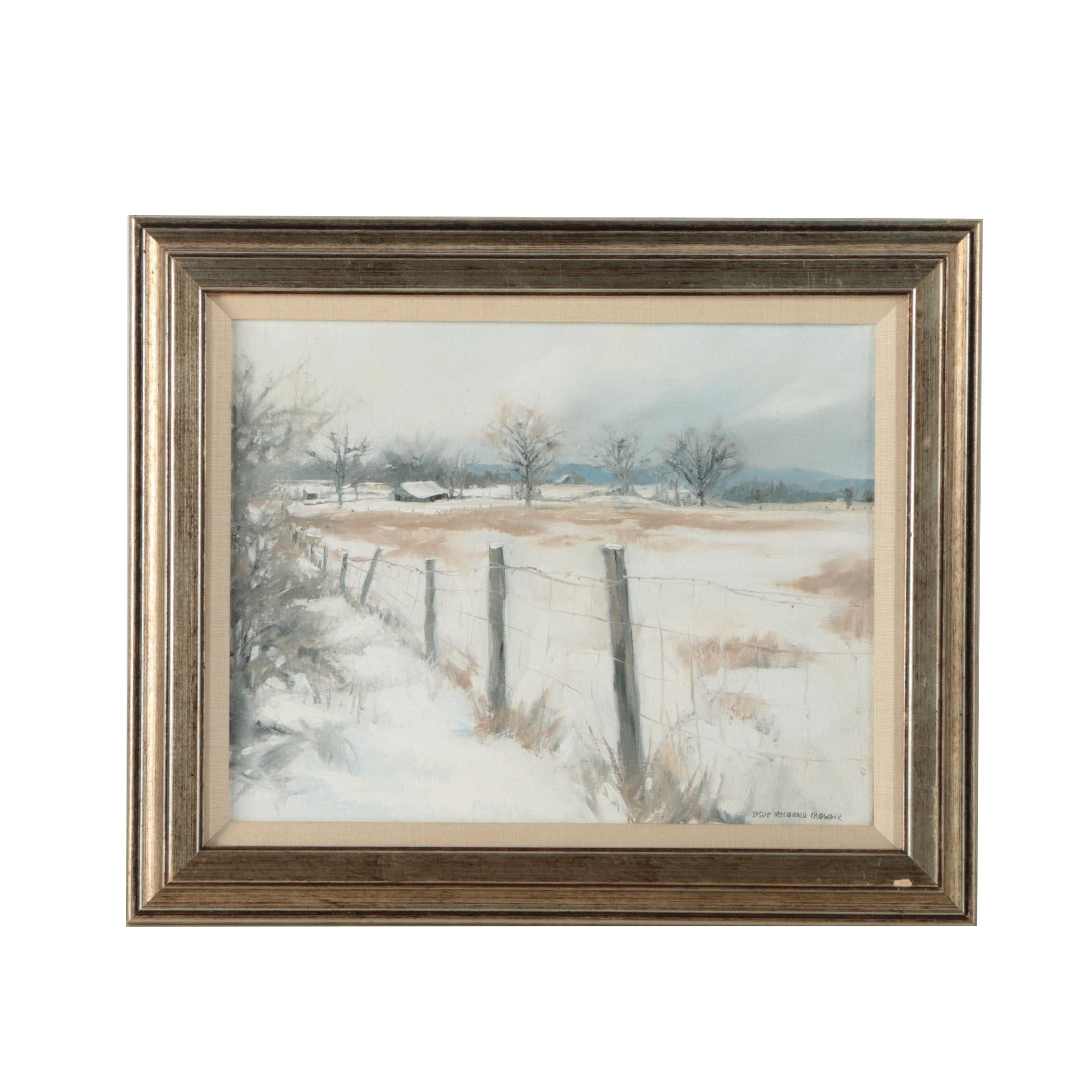 Lassie McDonald Crowder 1982 Oil Painting on Canvas of Rural Winter Landscape