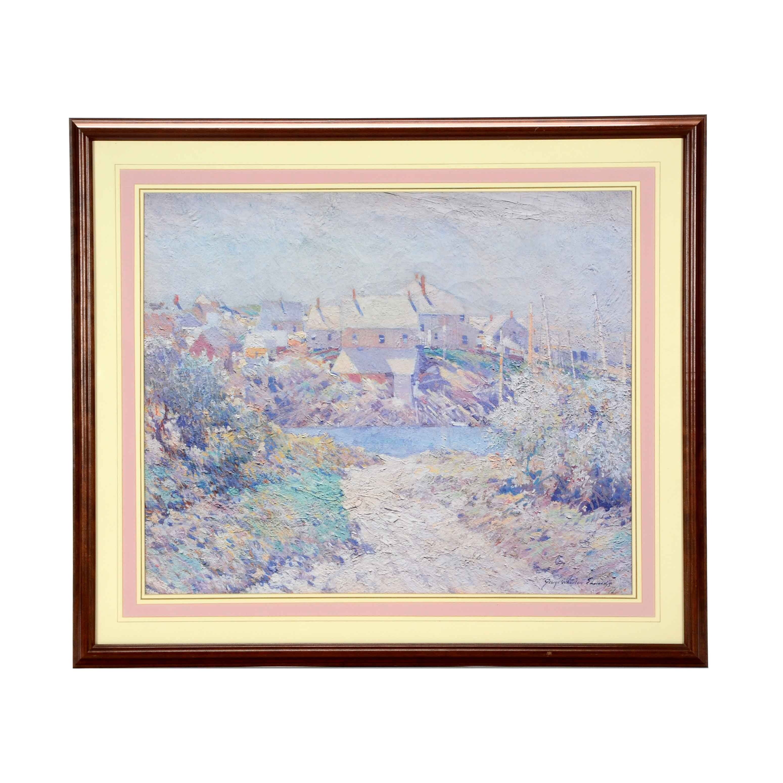 "George Wharton Edwards ""The Old River Road"" Matted and Framed Lithograph"
