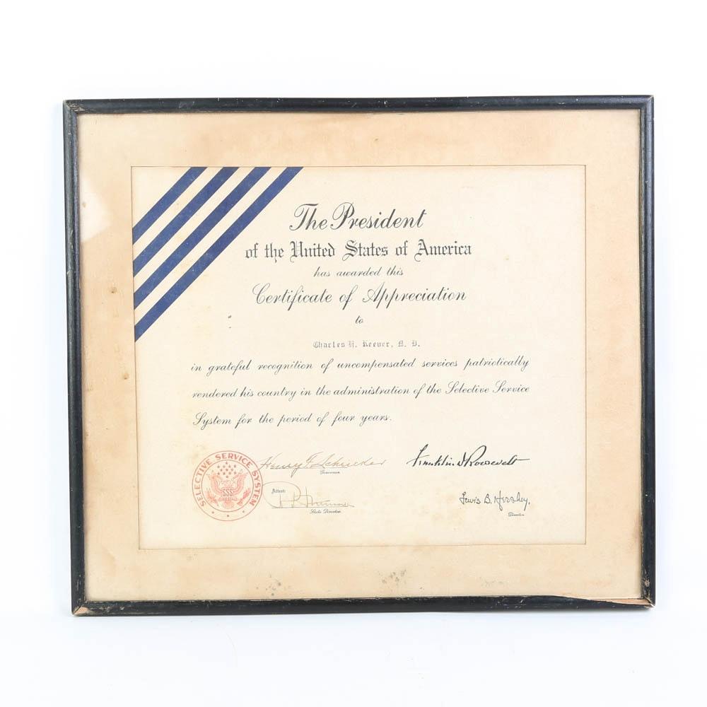 Vintage Military Service Certificate of Appreciation