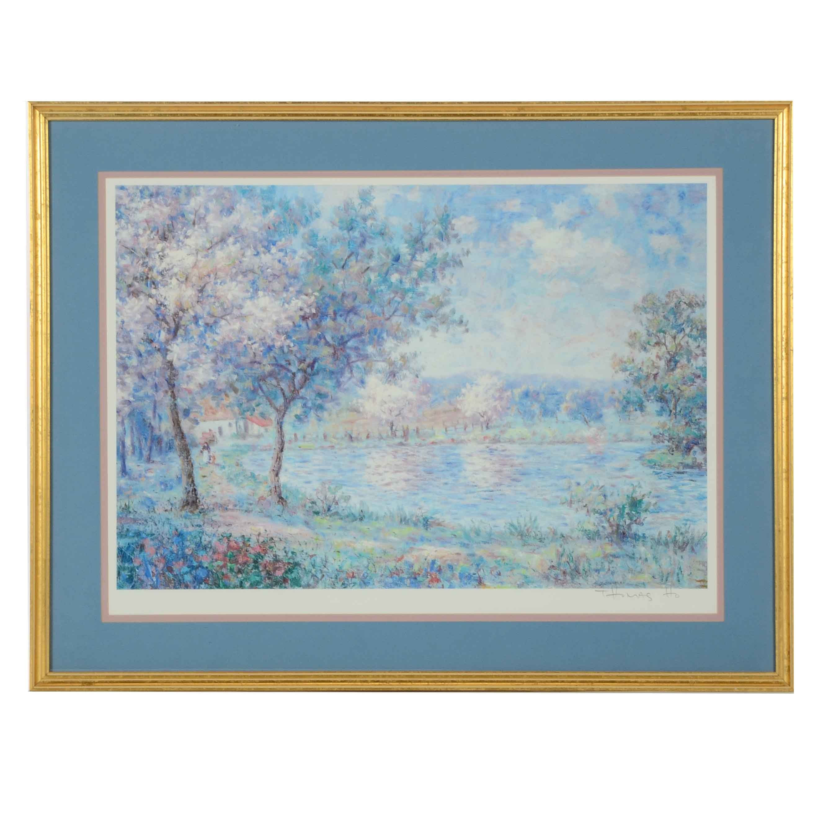 Artist Thomas Ho Signed Matted and Framed Landscape Lithograph