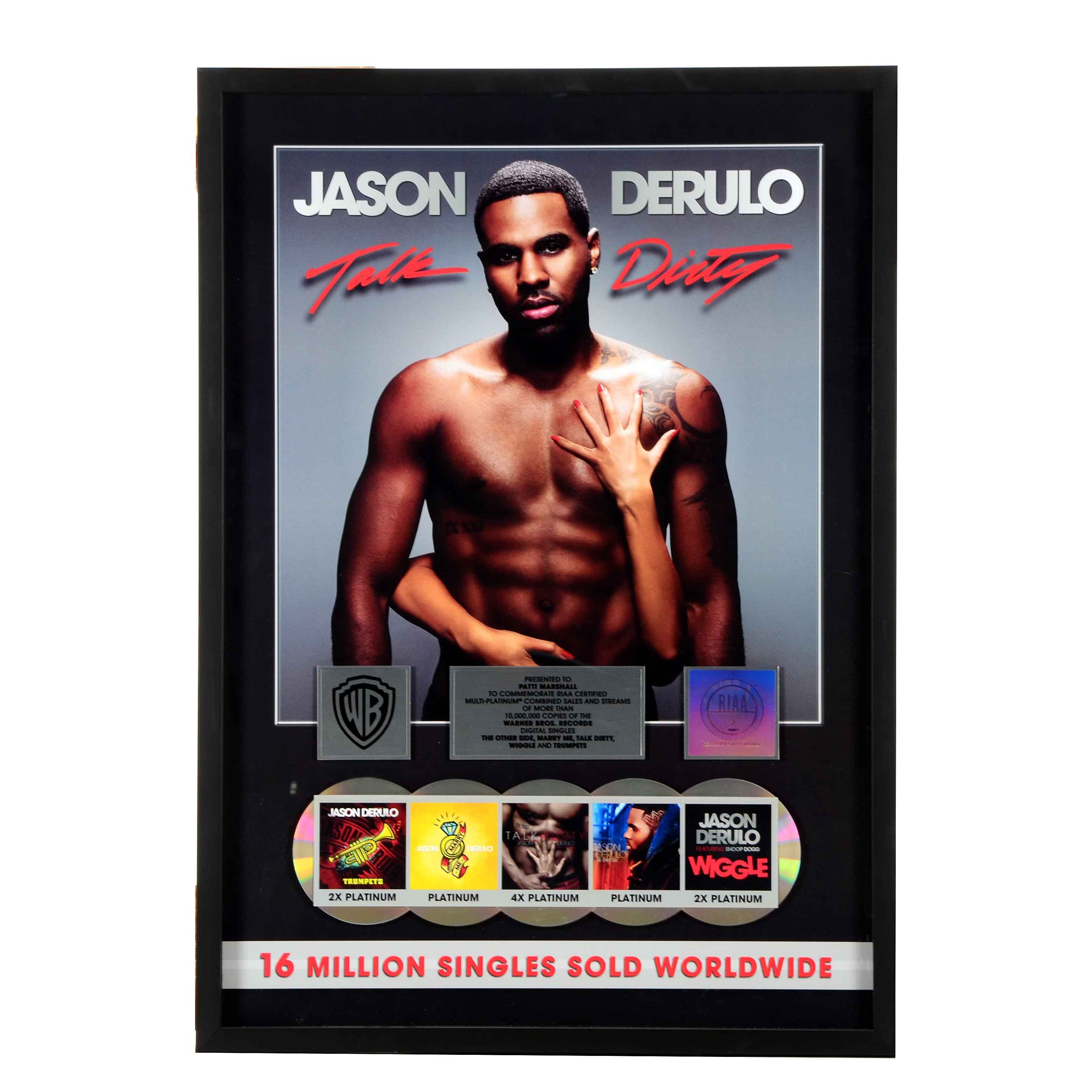 Jason Derulo Framed Platinum Record Display