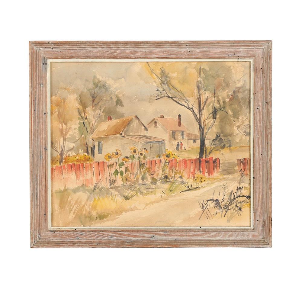Watercolor Painting on Paper Town Neighborhood Scene