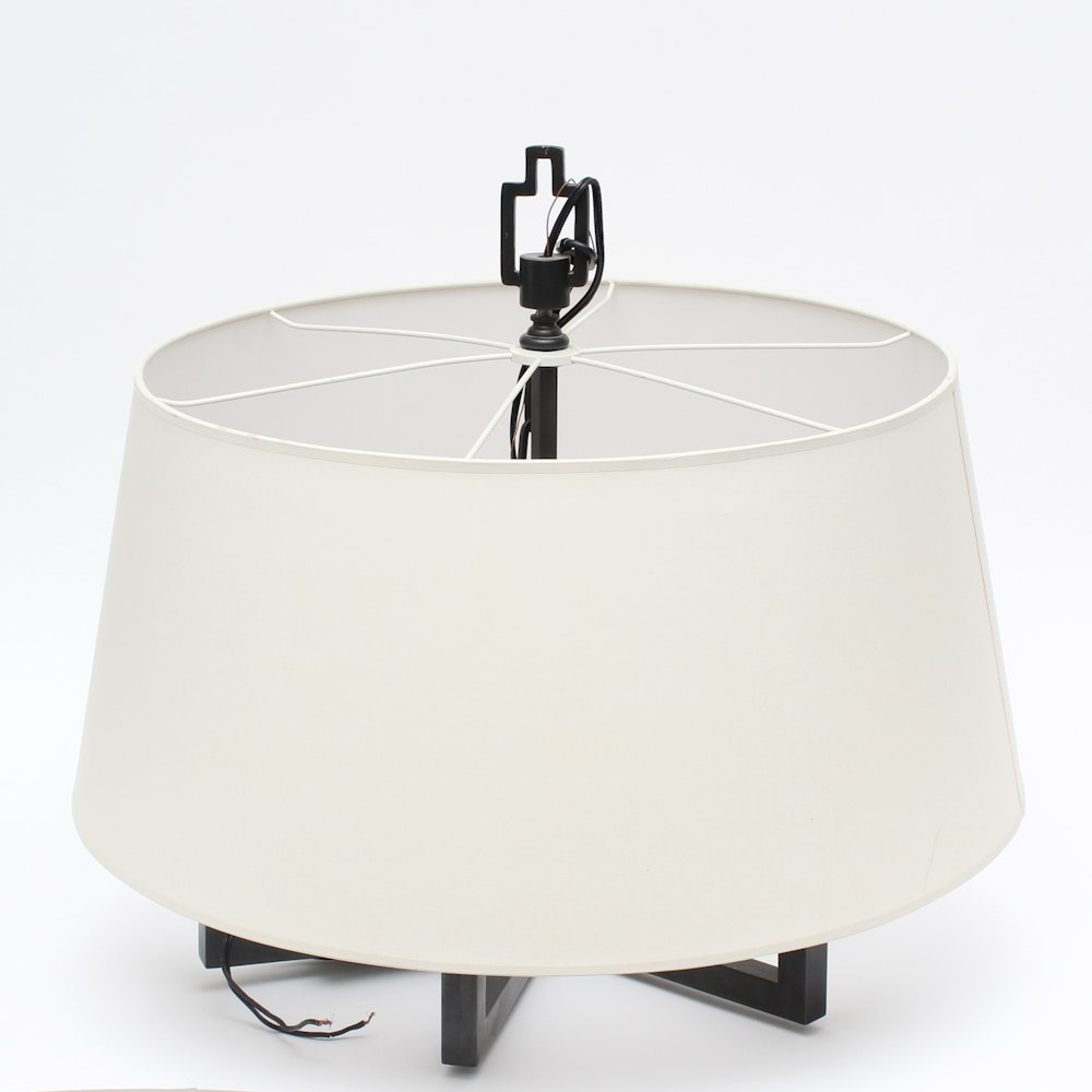 Black Pendant Fixture with White Shade