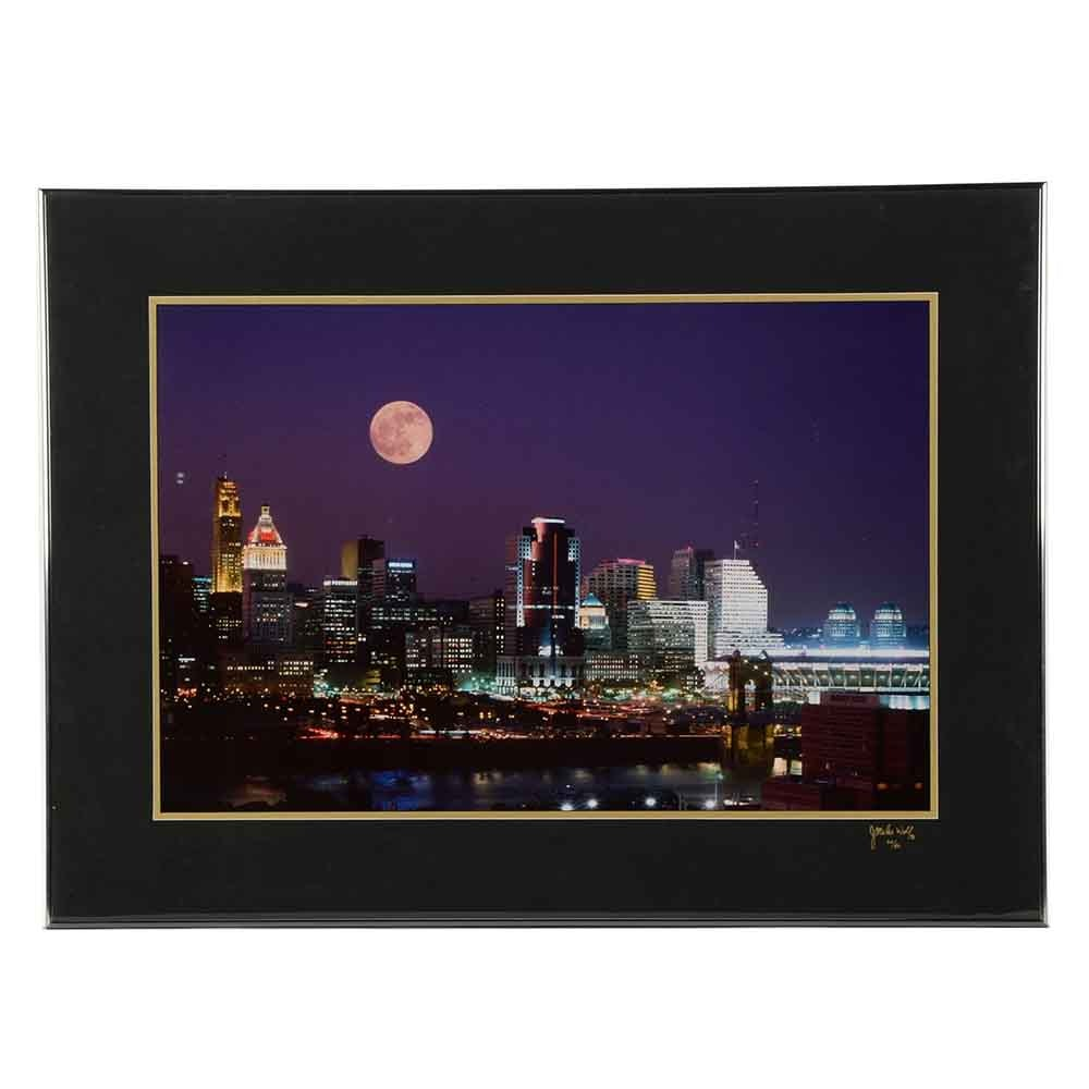 1996 J. Miles Wolf Limited Edition Cincinnati Night Skyline Photograph