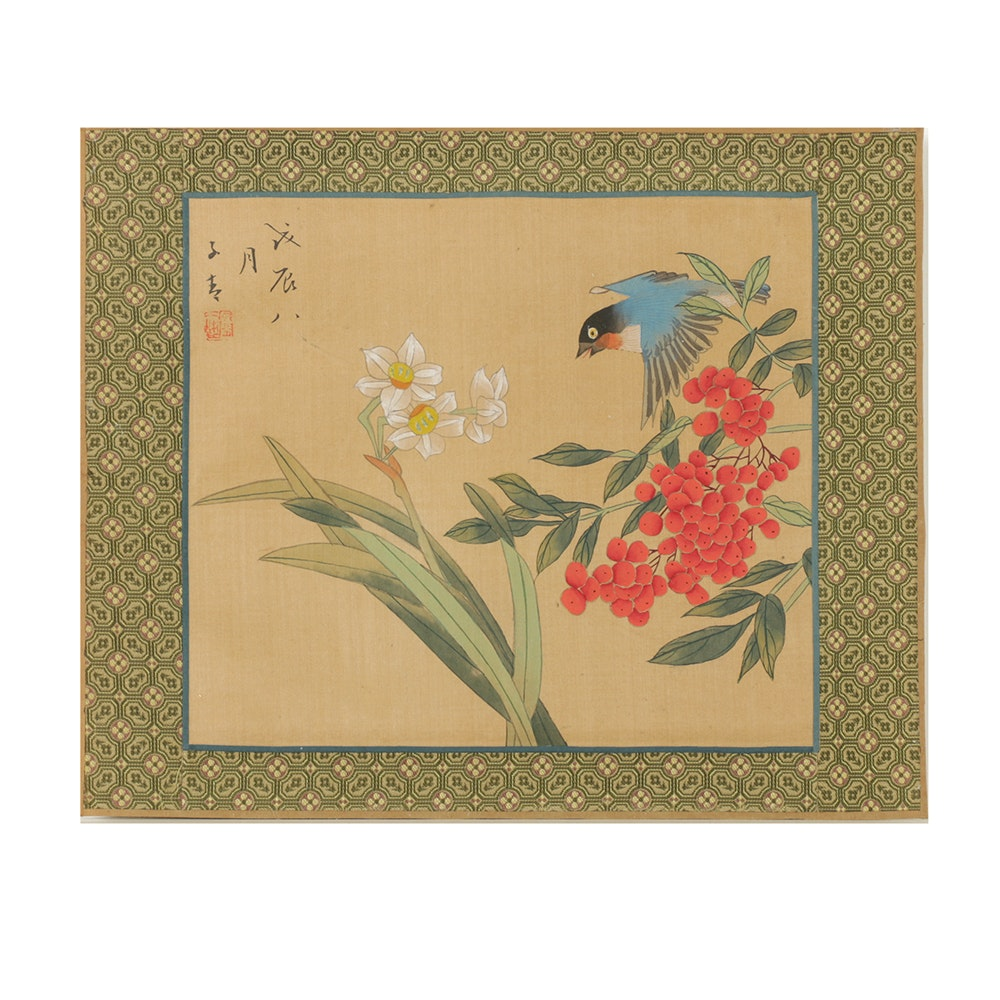Chinese Gouache Painting on Fabric of Bird-and-Flower Motif
