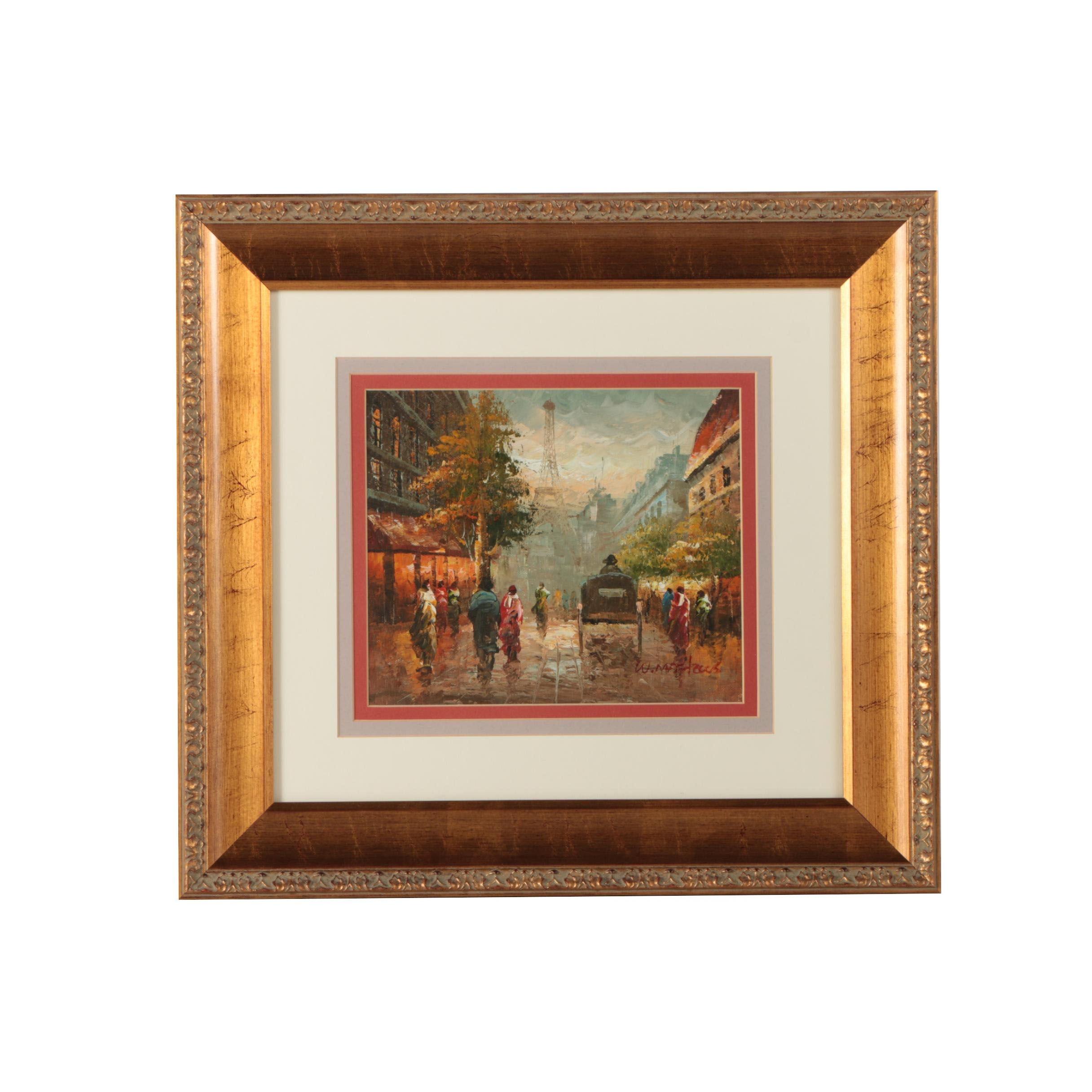W. Mathews Oil Painting on Canvas Board of Parisian Street Scene