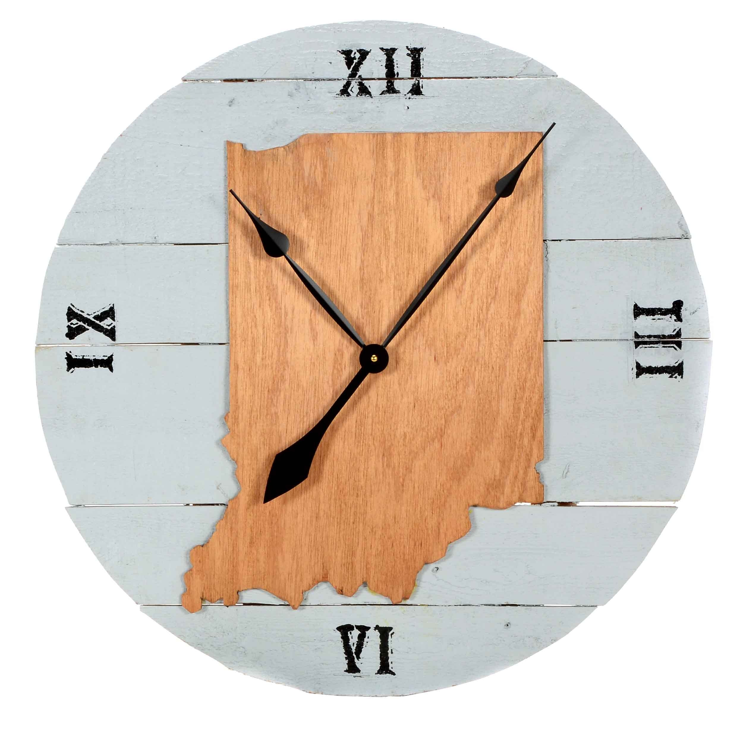 Artisan Crafted Indiana Themed Wood Wall Clock
