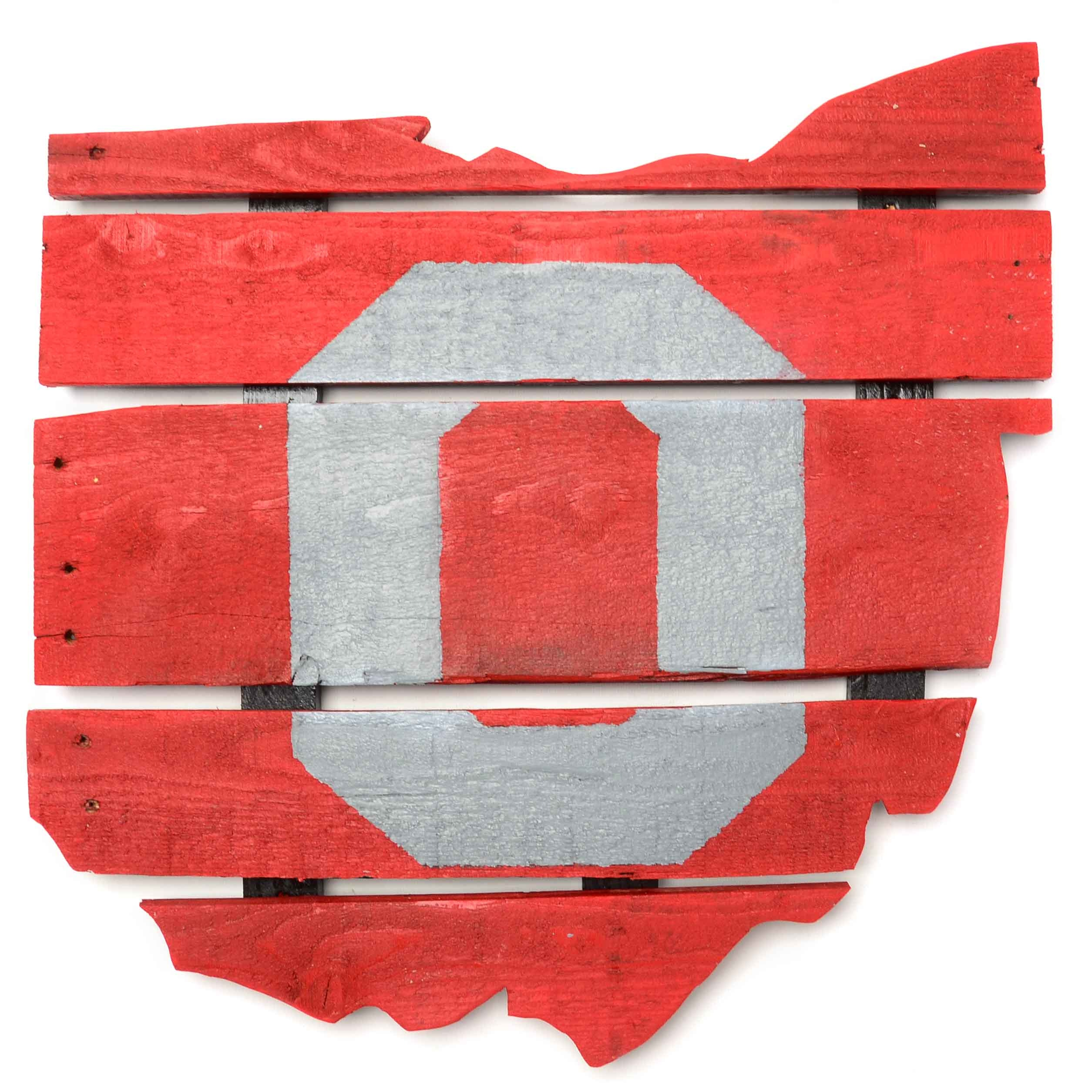 """O"" Painted  State Of Ohio Wood Slat Sign"