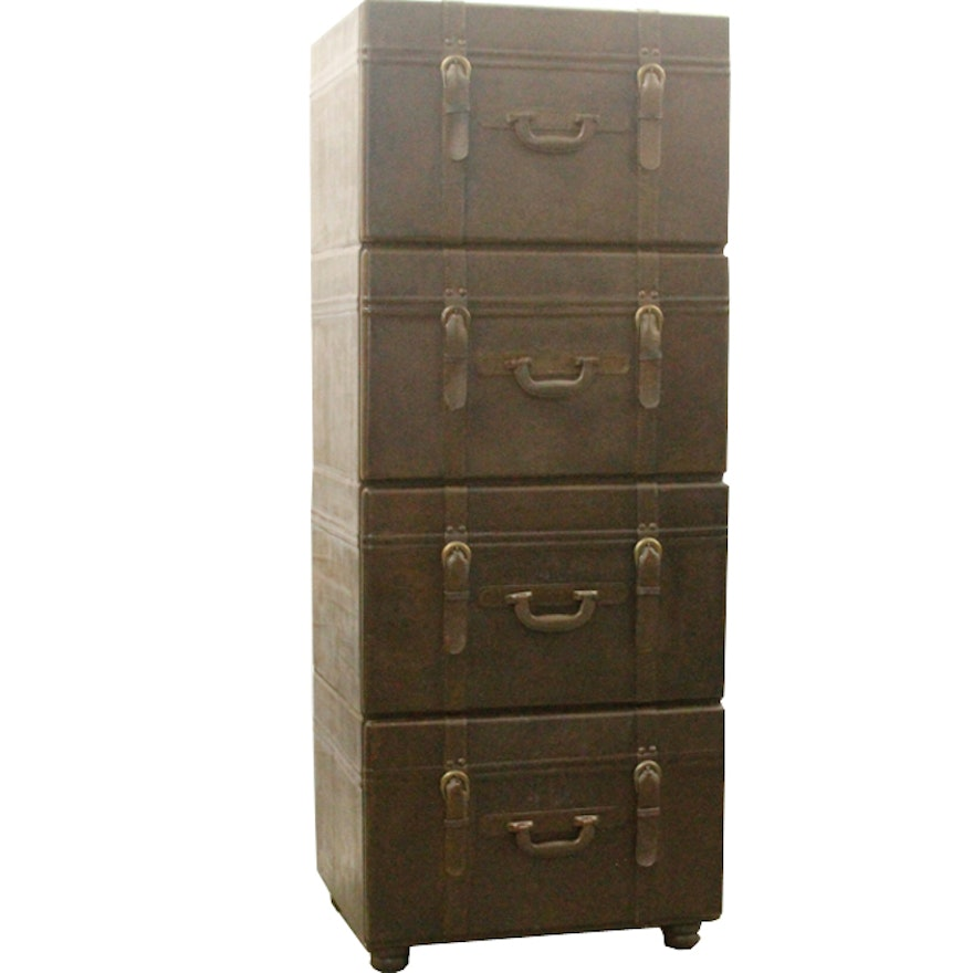 Stacked Luggage Filing Cabinet Ebth