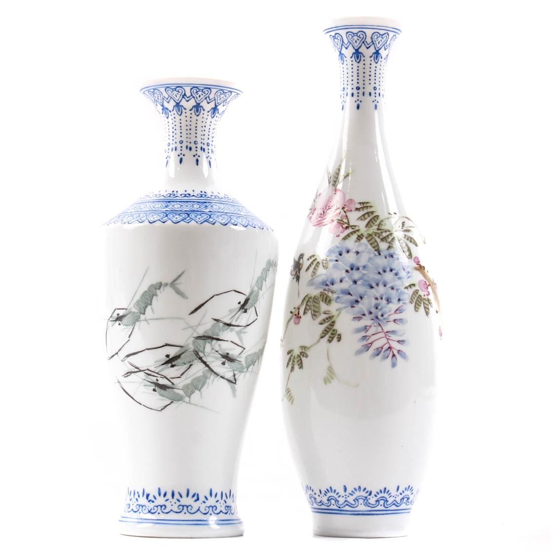 Chinese Eggshell Porcelain Bud Vases