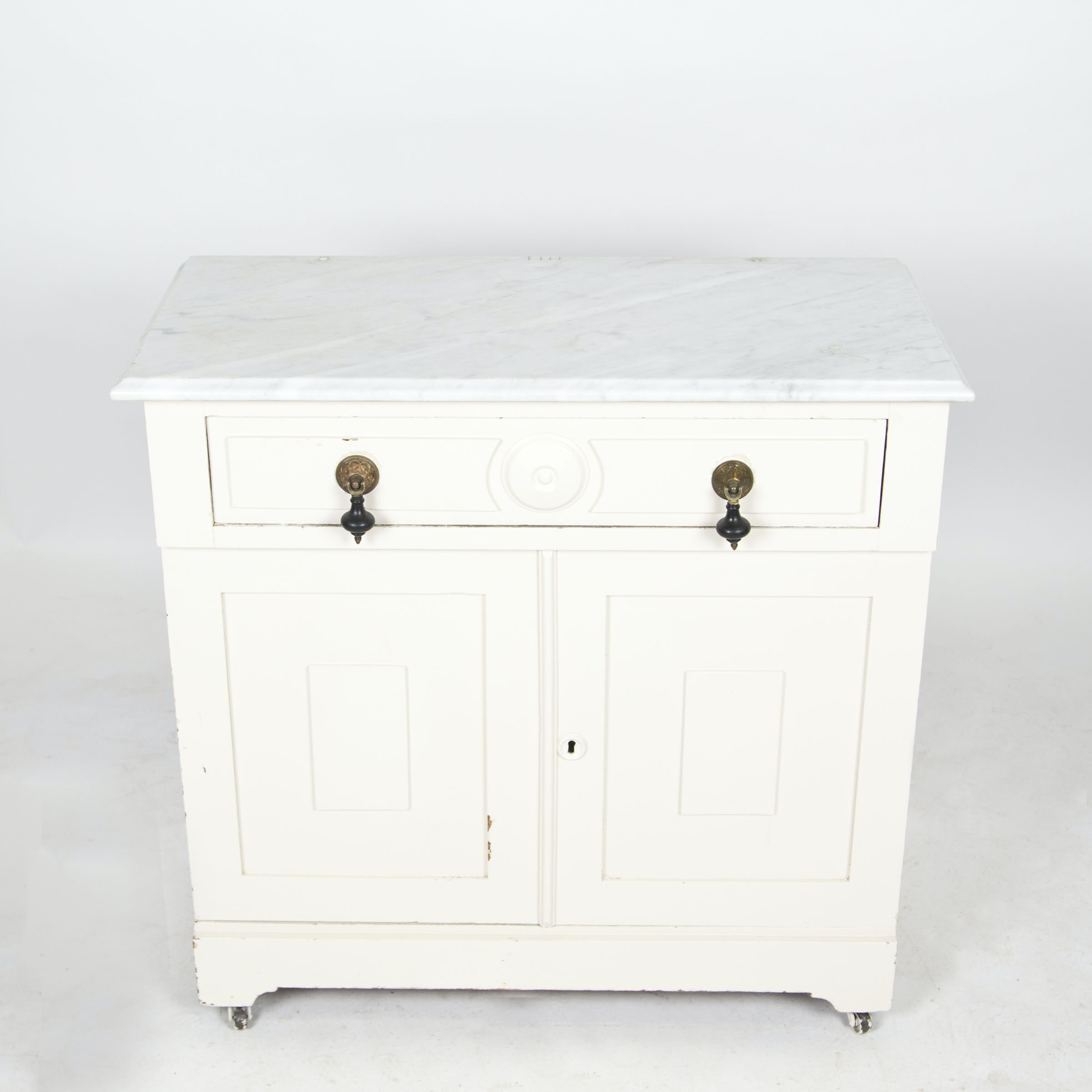 Painted Victorian Marble Top Washstand