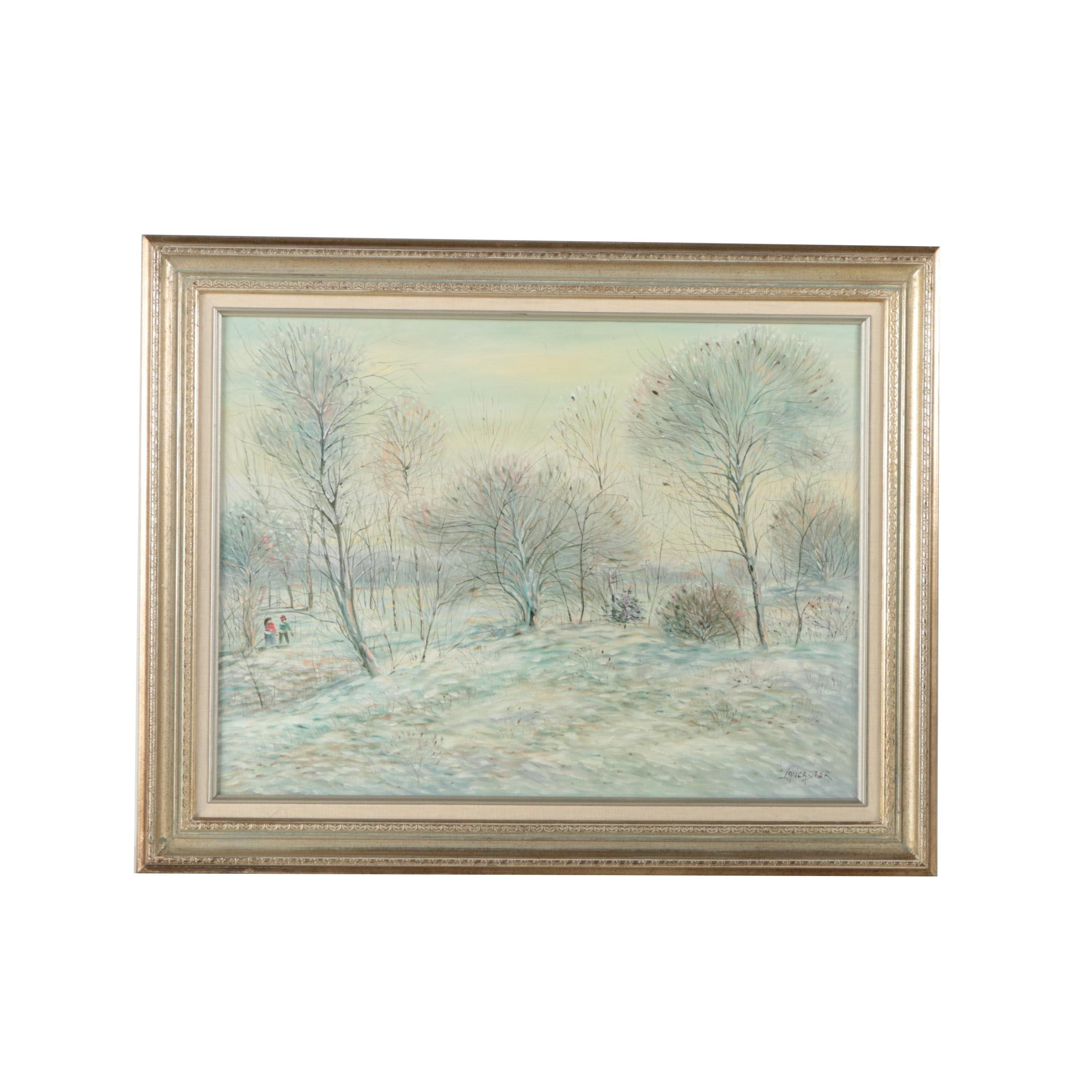 Lancaster Oil Painting on Canvas of Winter Scene