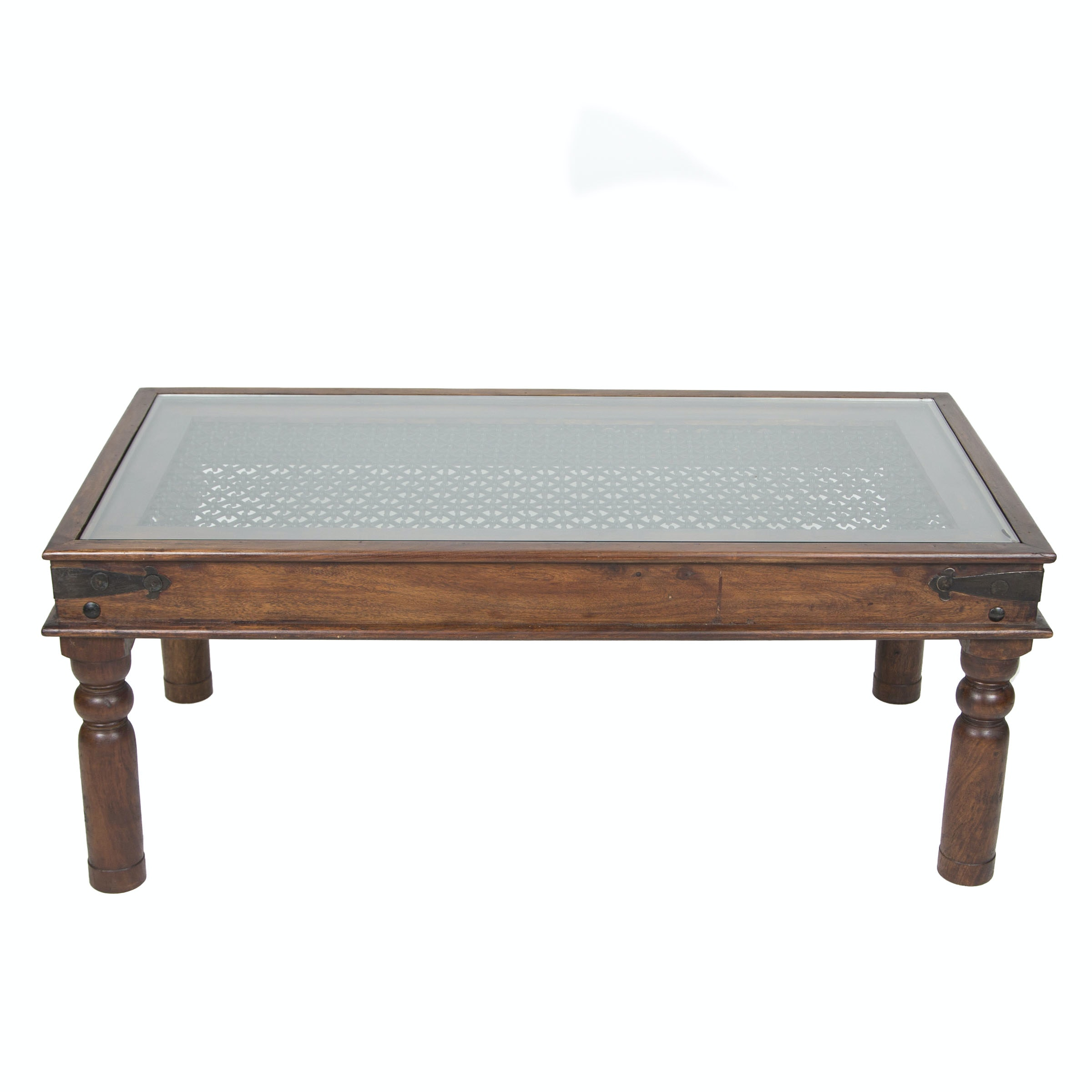 Anglo - Indian Style Coffee Table With Wrought Iron Grill Panel and Glass