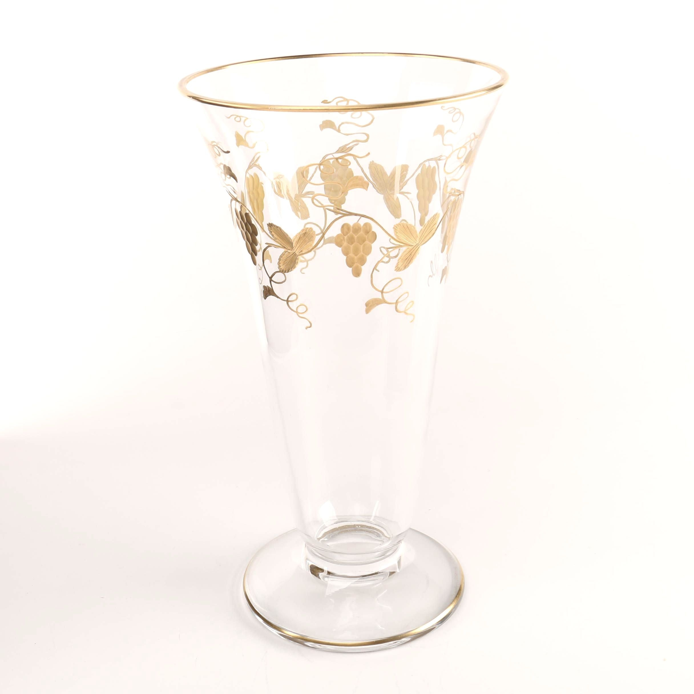 Glass Vase with Hand-Painted Grapevine Pattern