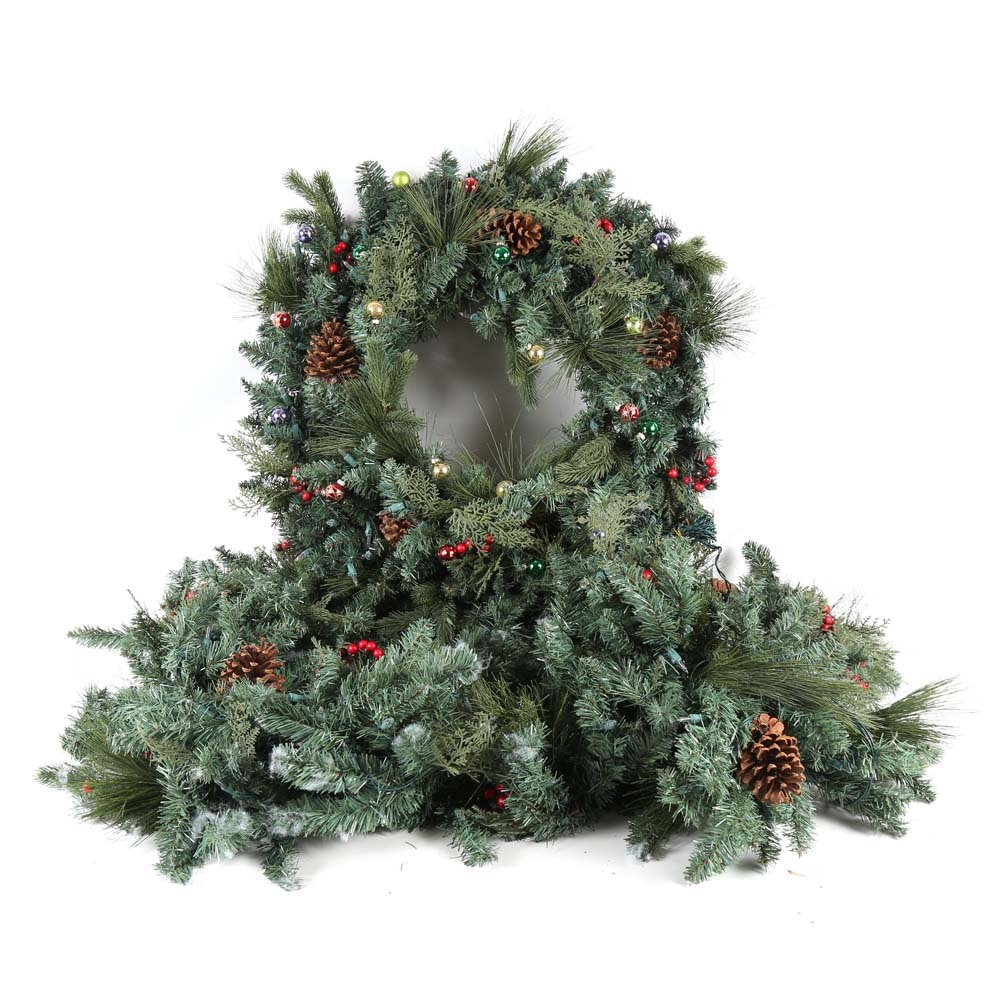 Frontgate Lighted Wreath and Garland