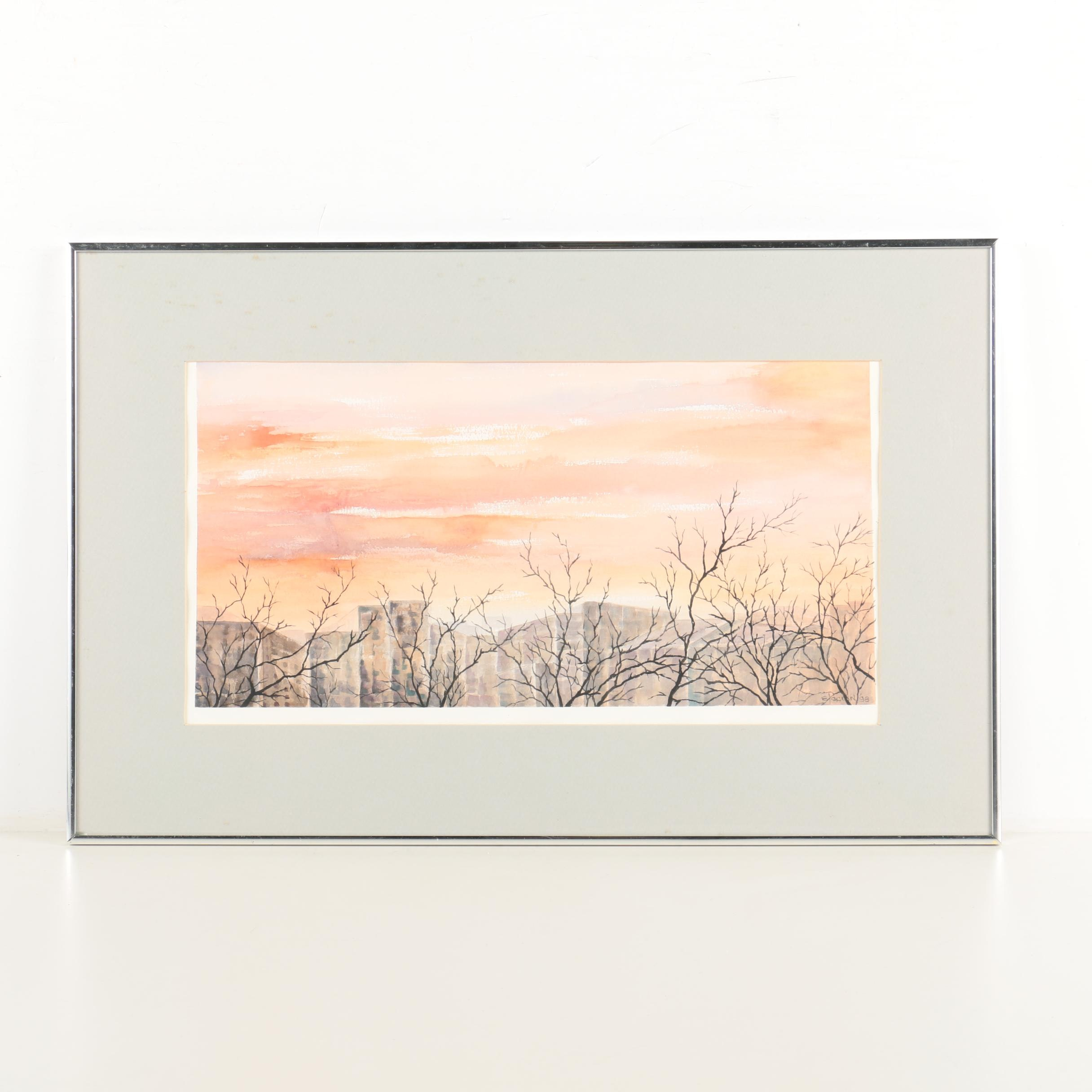 Anthony Elacion Watercolor Painting on Paper Sunset Cityscape