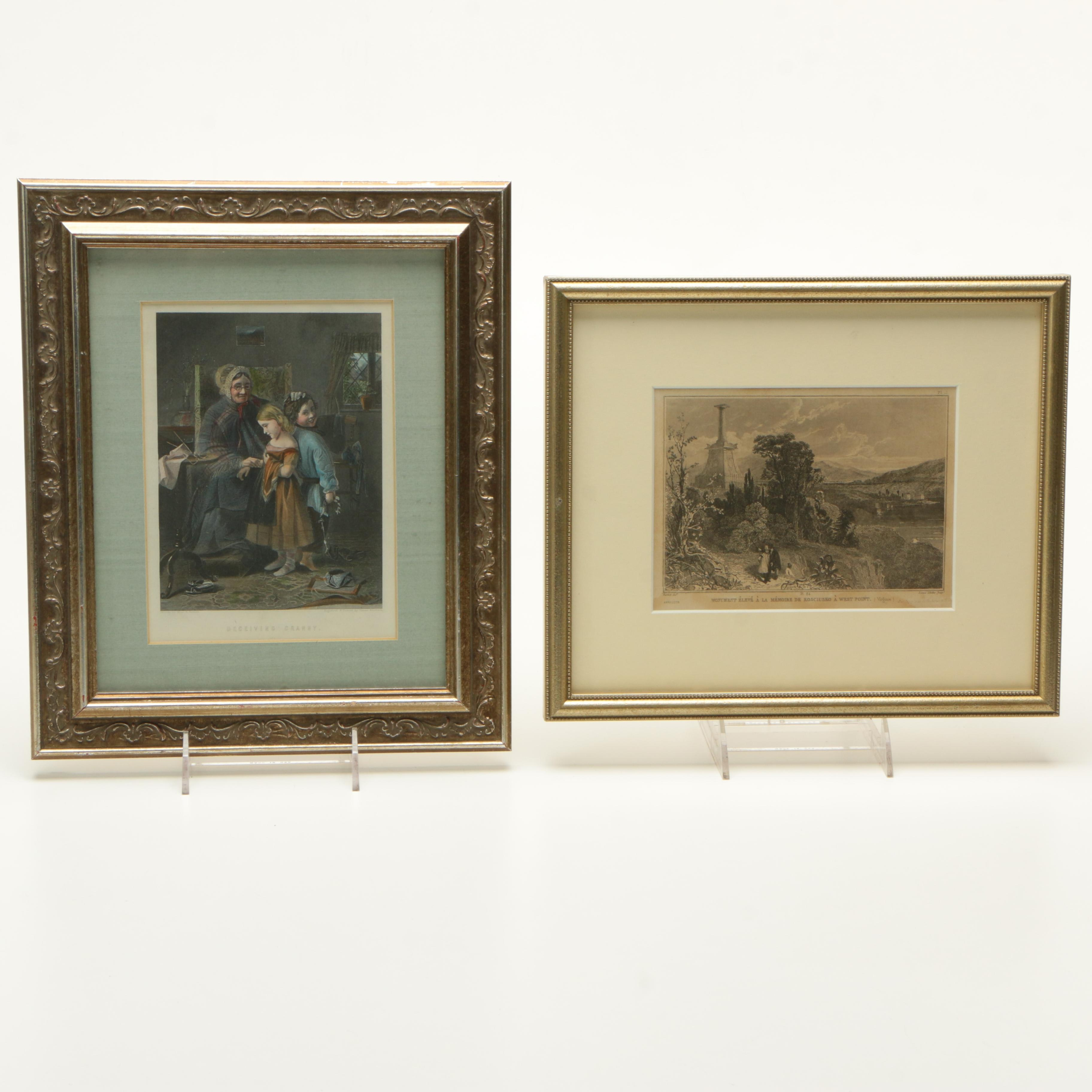 """Hand Colored Engraving """"Deceiving Granny"""" and Etching by Sculpt"""