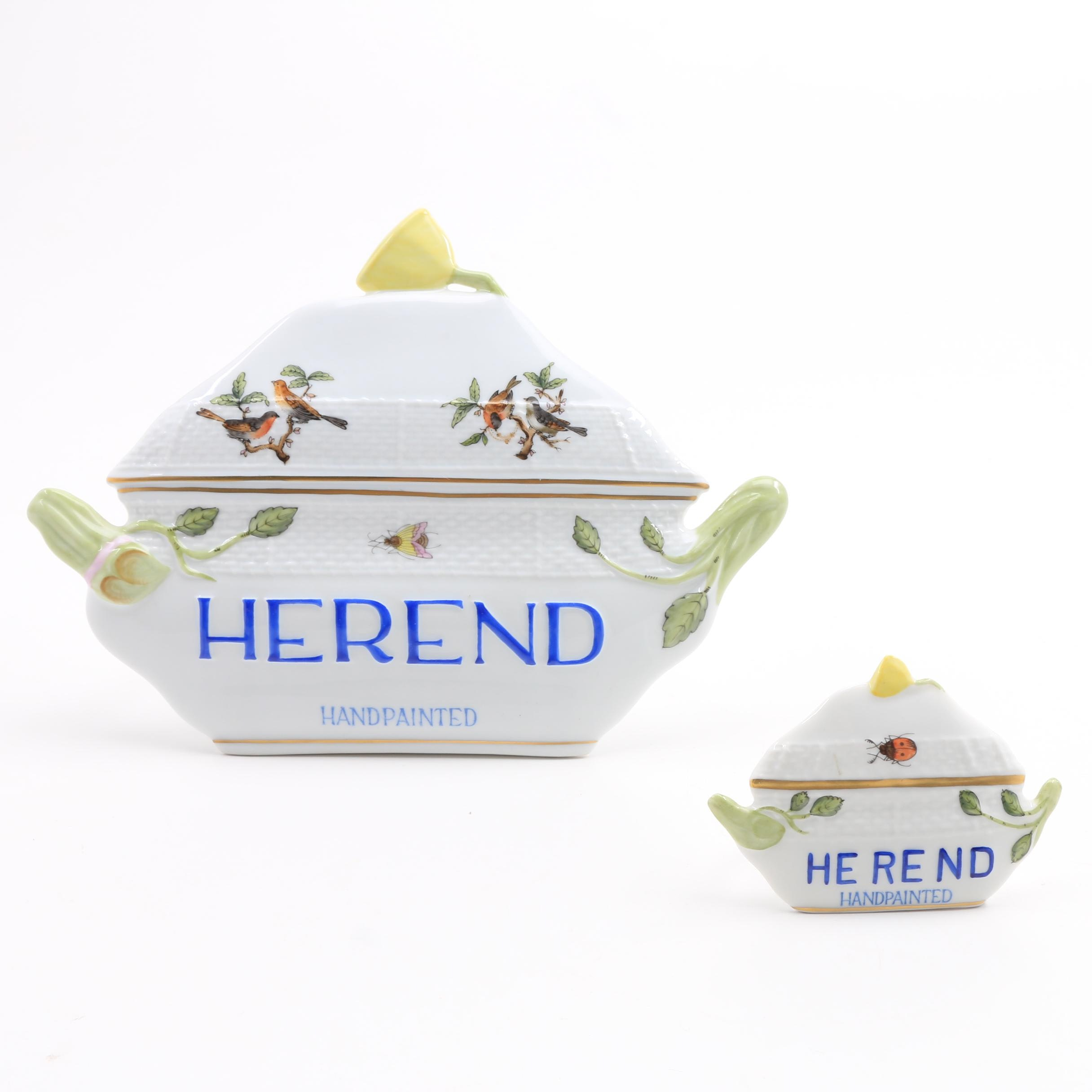 "Two Herend ""Rothschild Birds"" Porcelain Display Signs"