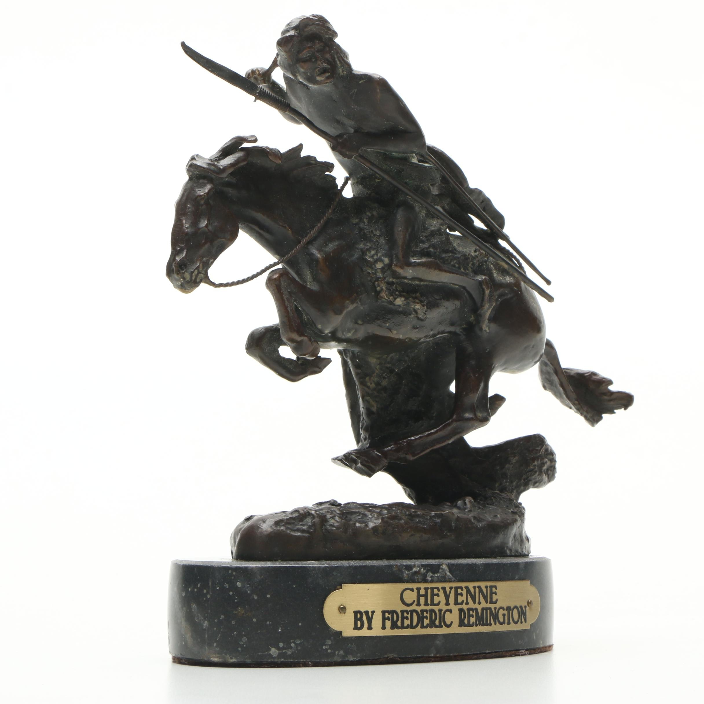 "French Bronze Sculpture After Frederic Remington ""Cheyenne"""