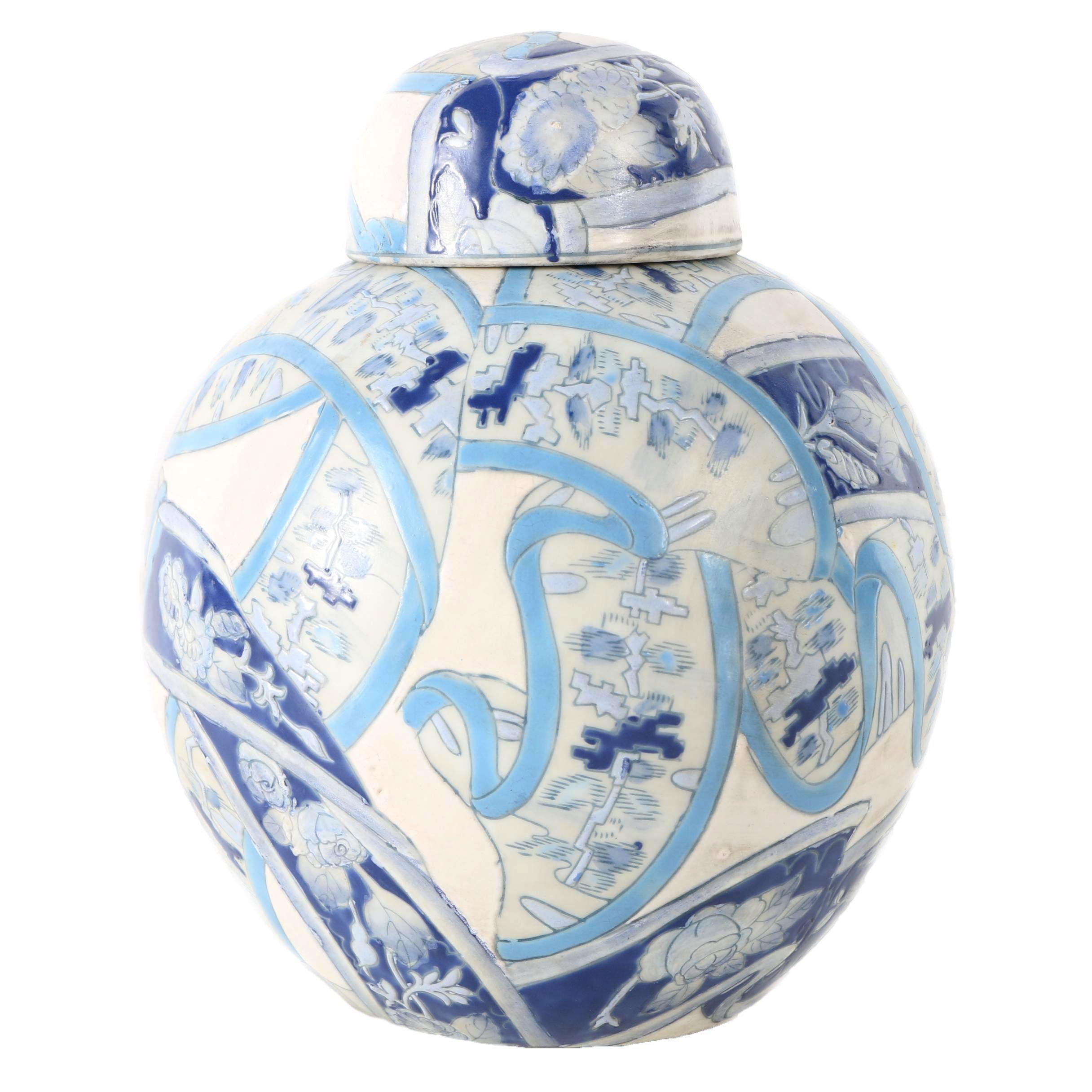 Ceramic Blue and White Lidded Vessel