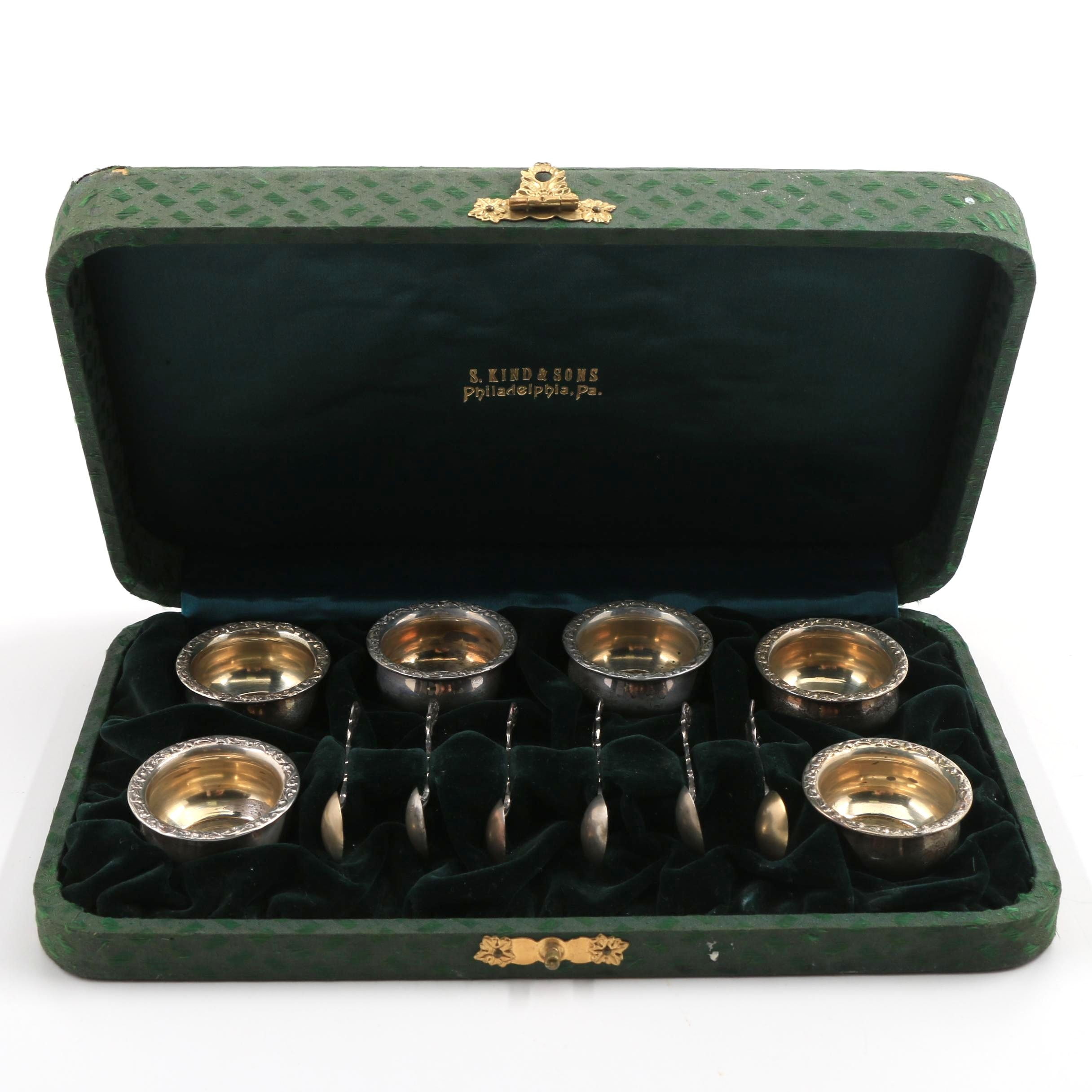 S. Kind & Sons Sterling Silver Salts and Spoons in Presentation Case