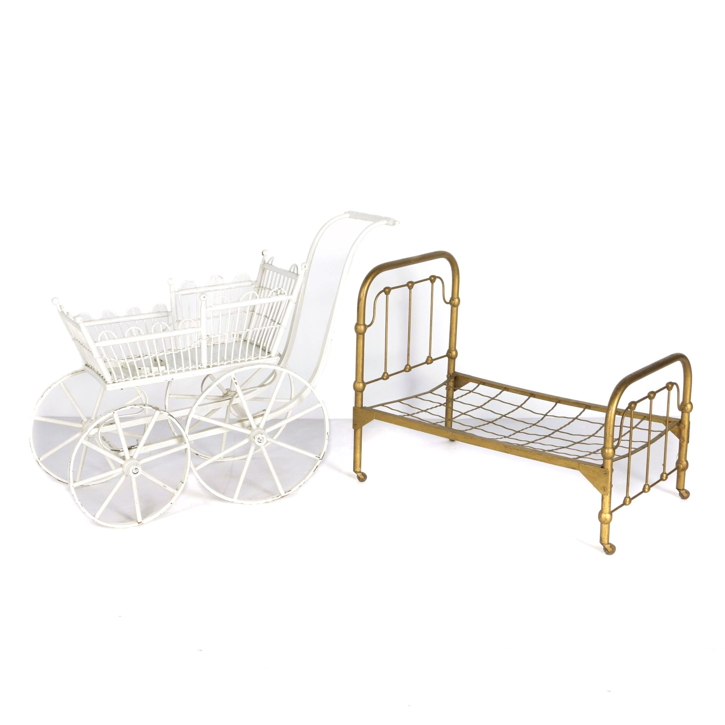 Vintage Doll Carriage and Bed