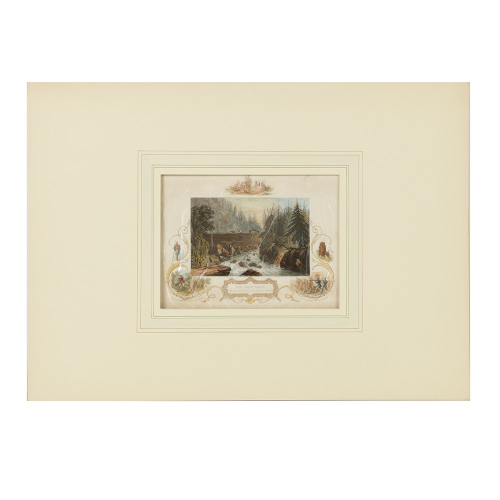 """J & F Tallis Hand-Colored Engraving on Paper """"The Erie Canal and the Little Falls on the River Mohawk"""""""