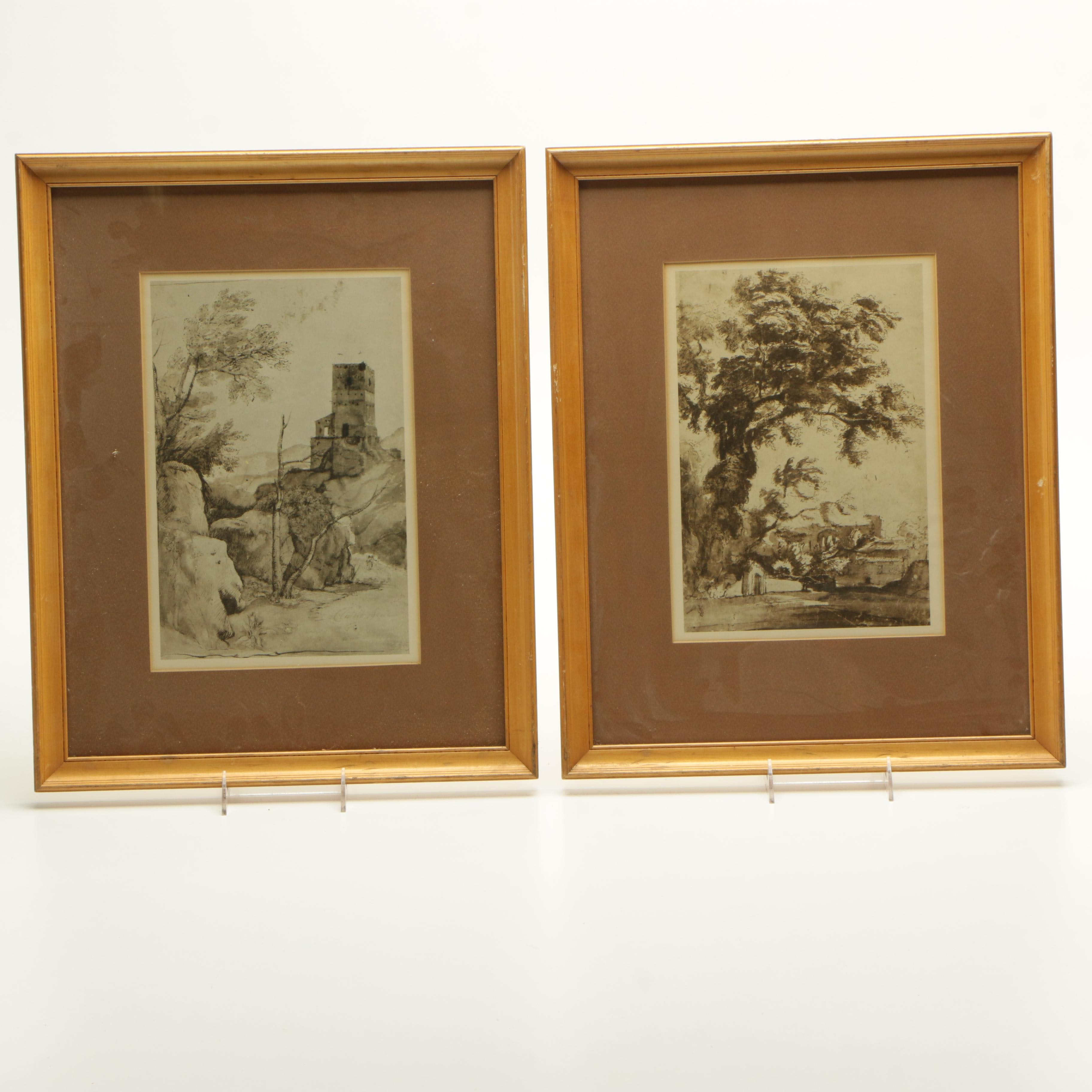 Two Offset Lithographs of Architectural Scenes