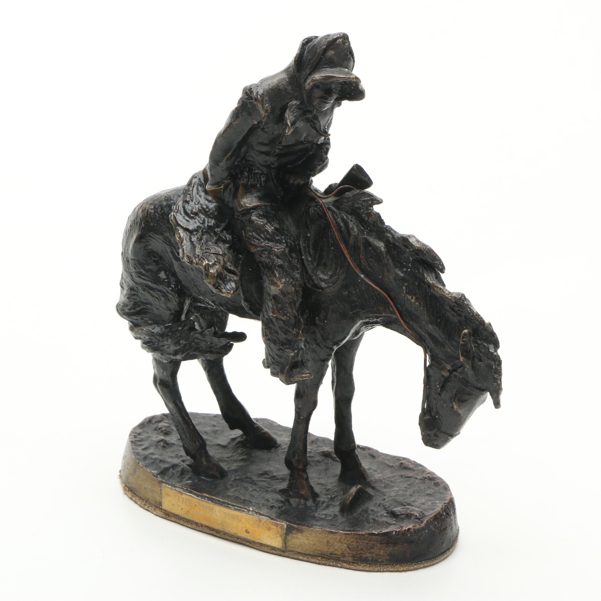 "Brass Reproduction Sculpture Frederic Remington ""The Northerner"""