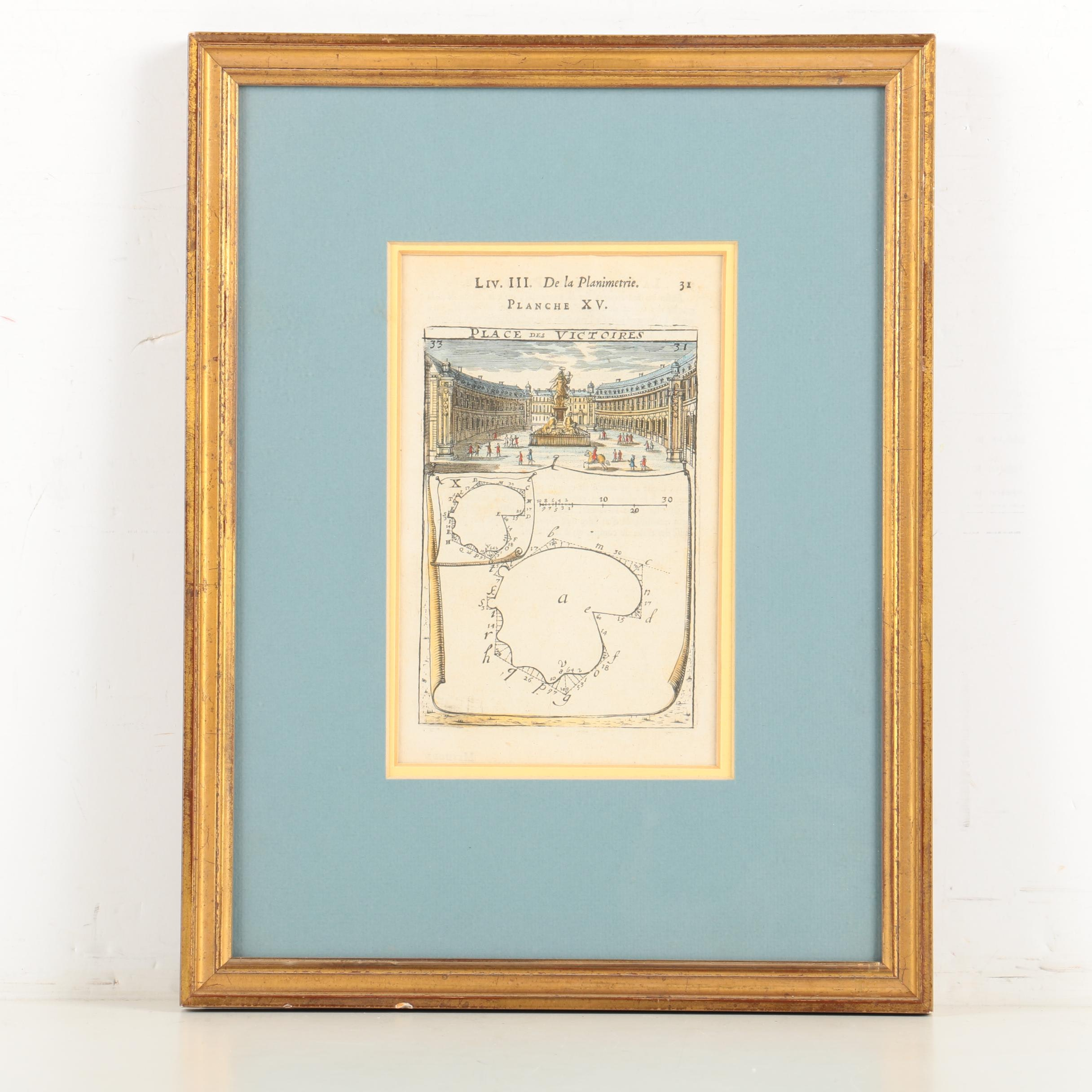 Vintage Hand Colored Engraving on Paper of Place des Victoires