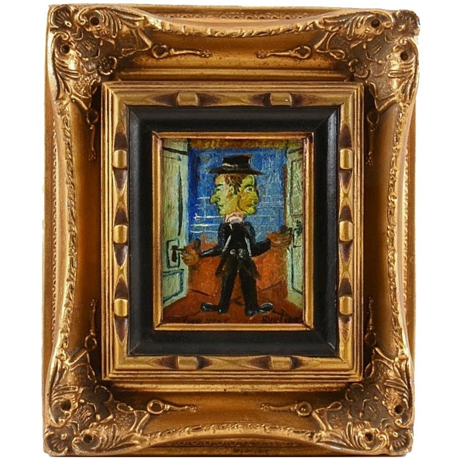 "David Davidovich Burliuk Oil Painting on Board ""Two Keys"""