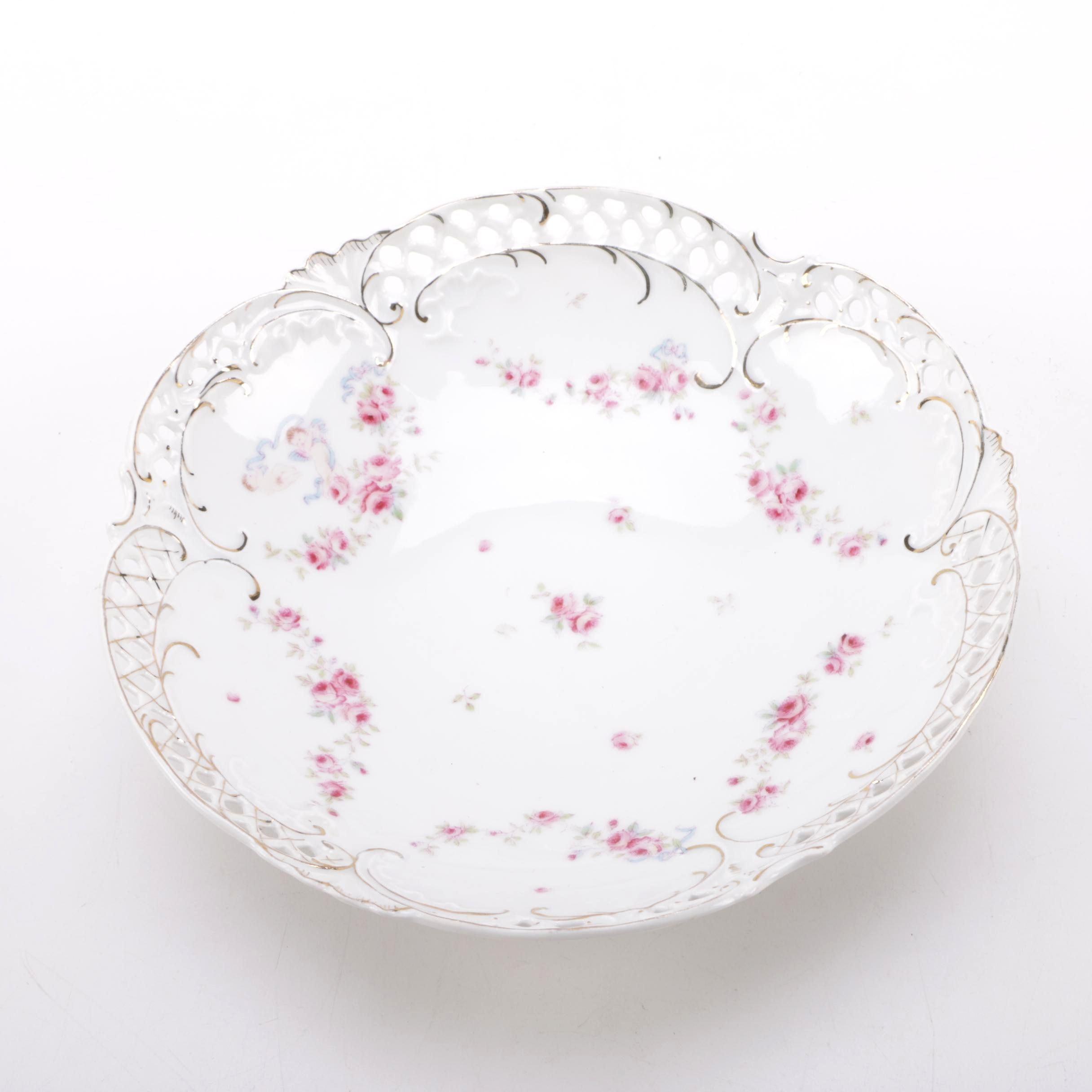 Decorative German Floral Porcelain Bowl