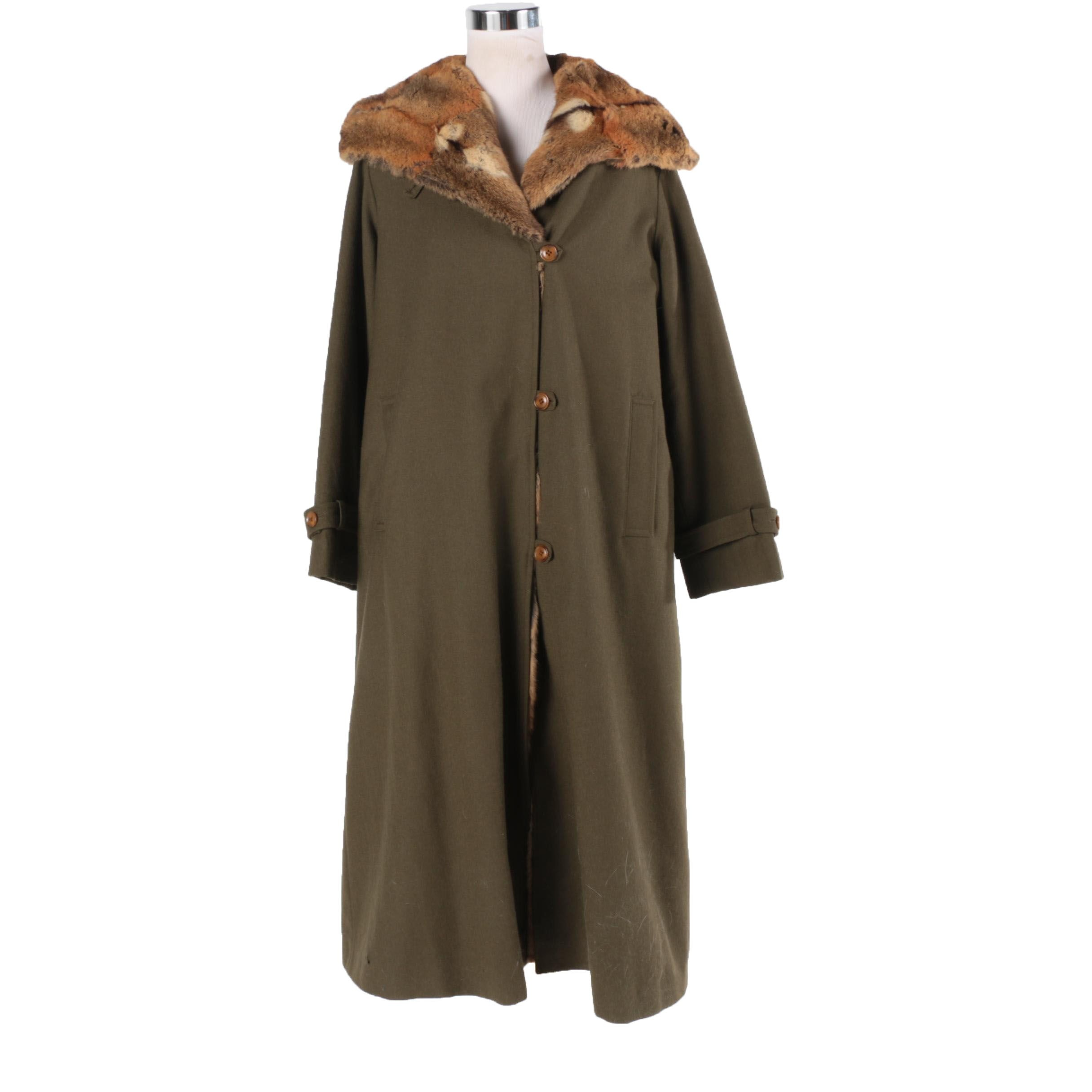 Olive Green Hooded Wool Coat with Removable Bassarisk Fur Lining
