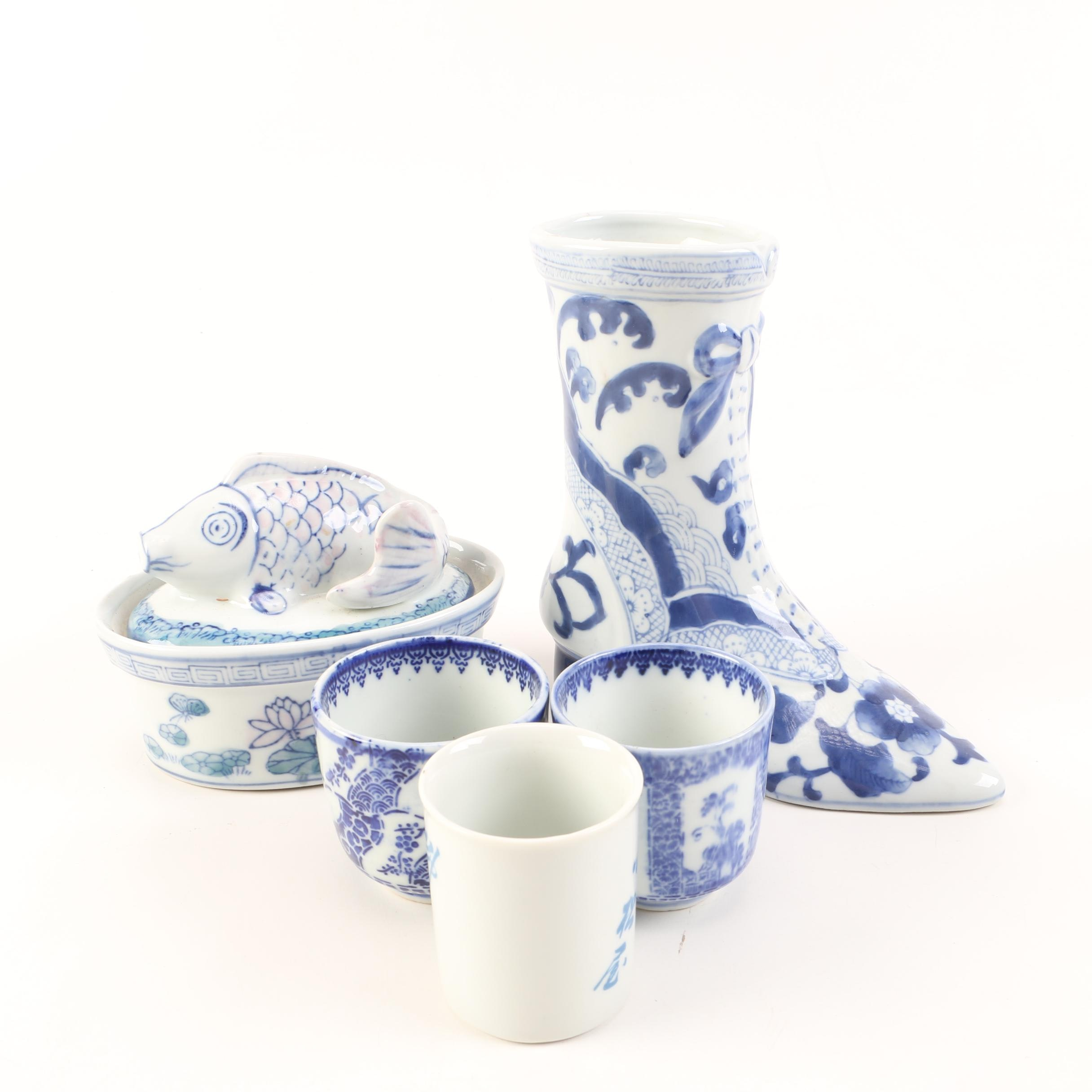 Chinese White and Blue Decorative Cups and Bowls