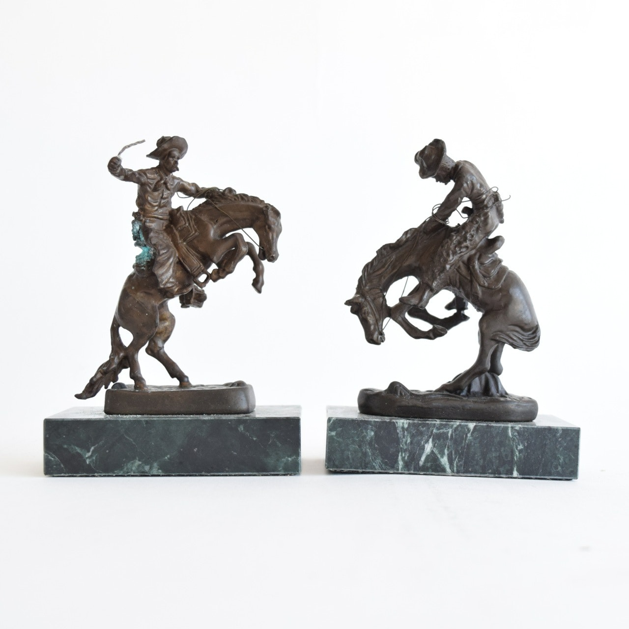 """The Rattlesnake"" and ""Bronco Buster"" Reproduction Sculptures After Frederic Remington"