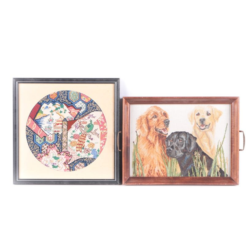Wooden Tray with Retriever Cross-Stitch Pattern and Framed Needlepoint Textile