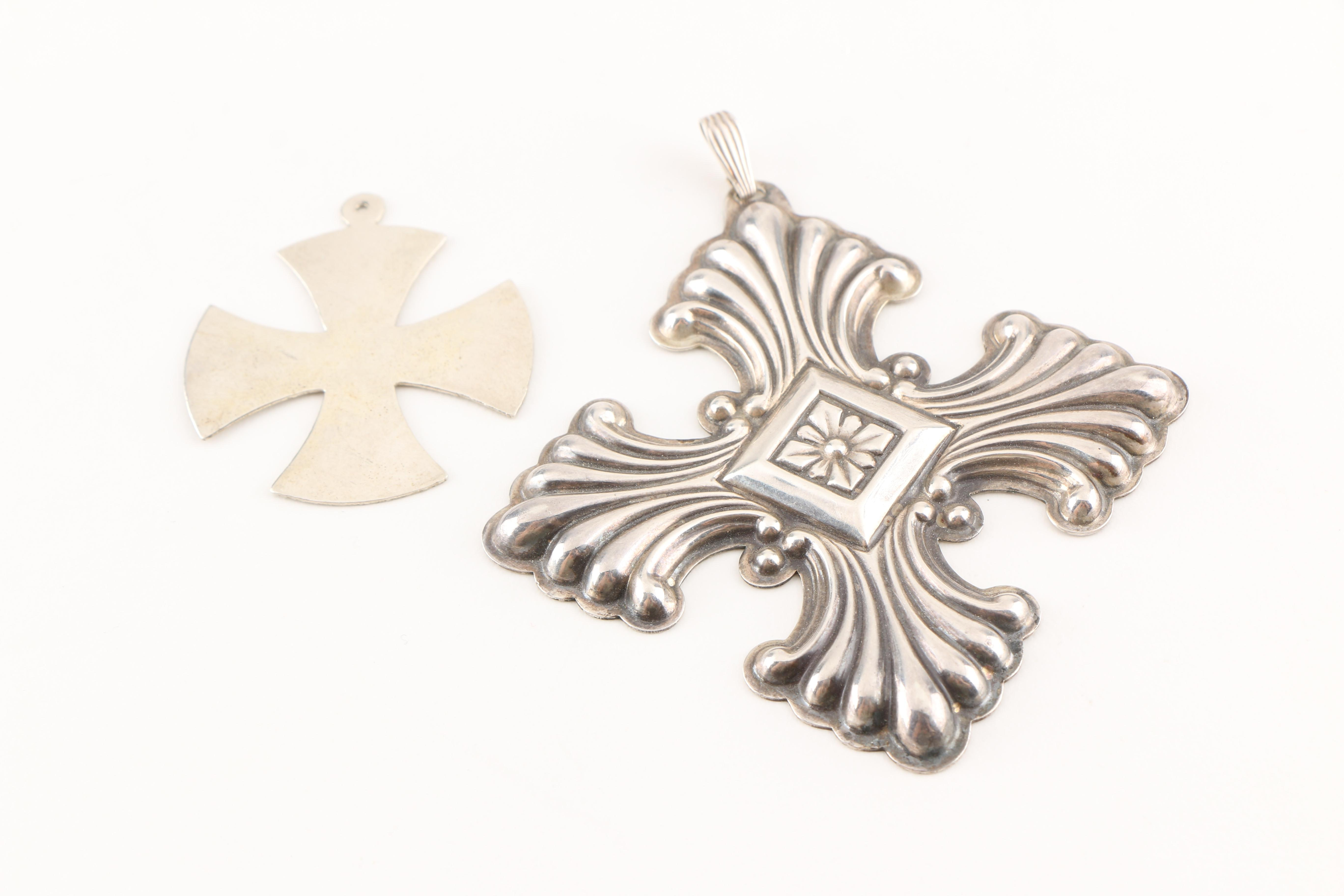 Sterling Silver Cross Pendants Featuring Reed and Barton