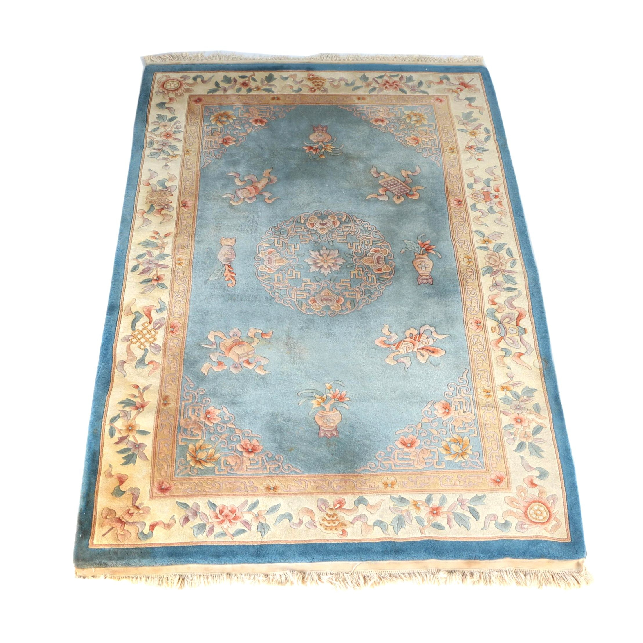 Hand-Knotted and Carved Chinese Area Rug