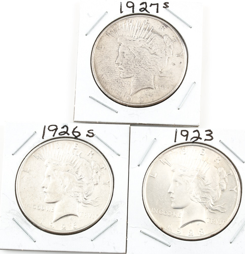 Three Peace Silver Dollars