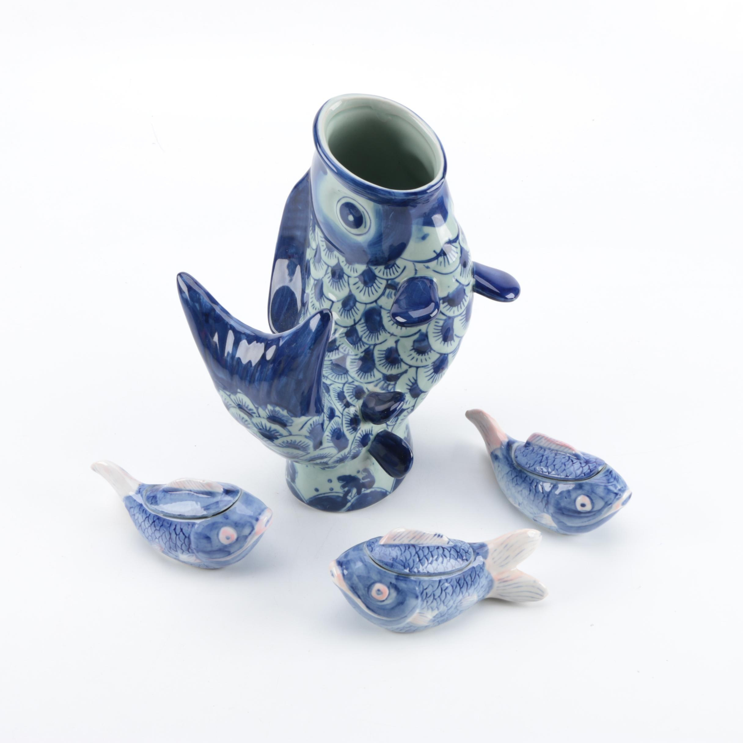 Chinese Blue and White Ceramic Fish Vase with Covered Fish Dishes