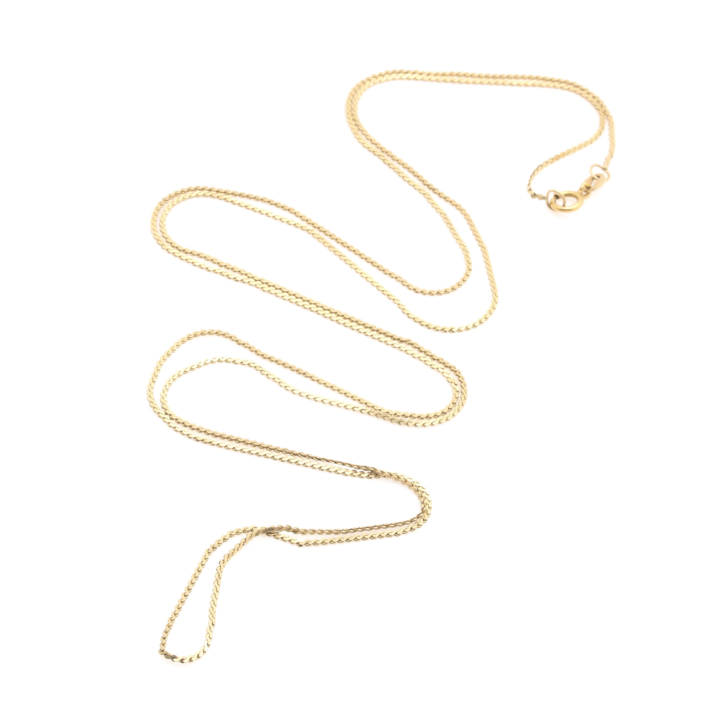 14K Yellow Gold Serpentine Chain Necklace