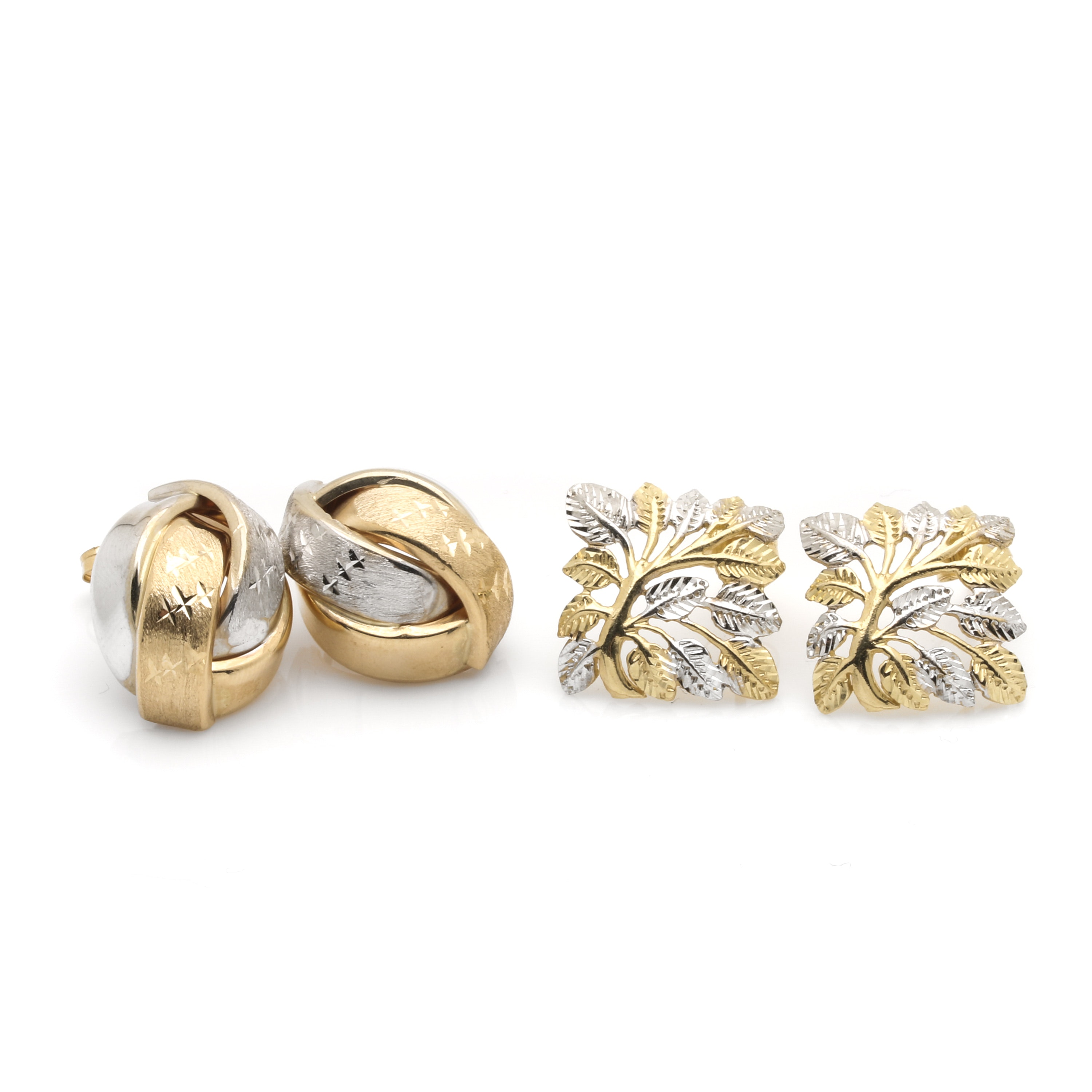 14K Yellow and White Gold Earring Selection