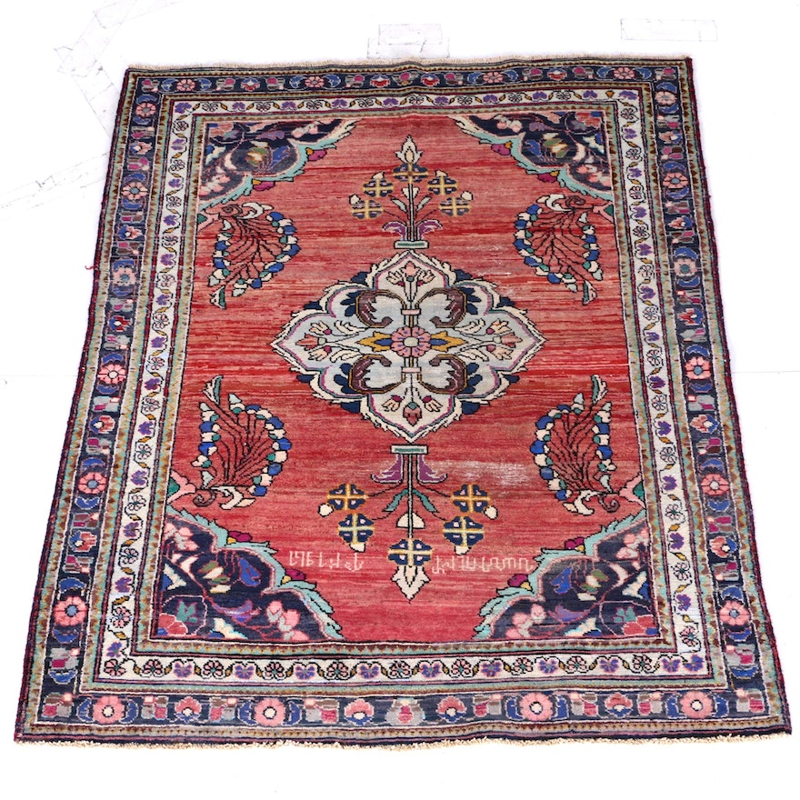Hand Knotted Persian Wool Area Rug Ebth: Semi-Antique Hand-Knotted Persian Armenian Area Rug With